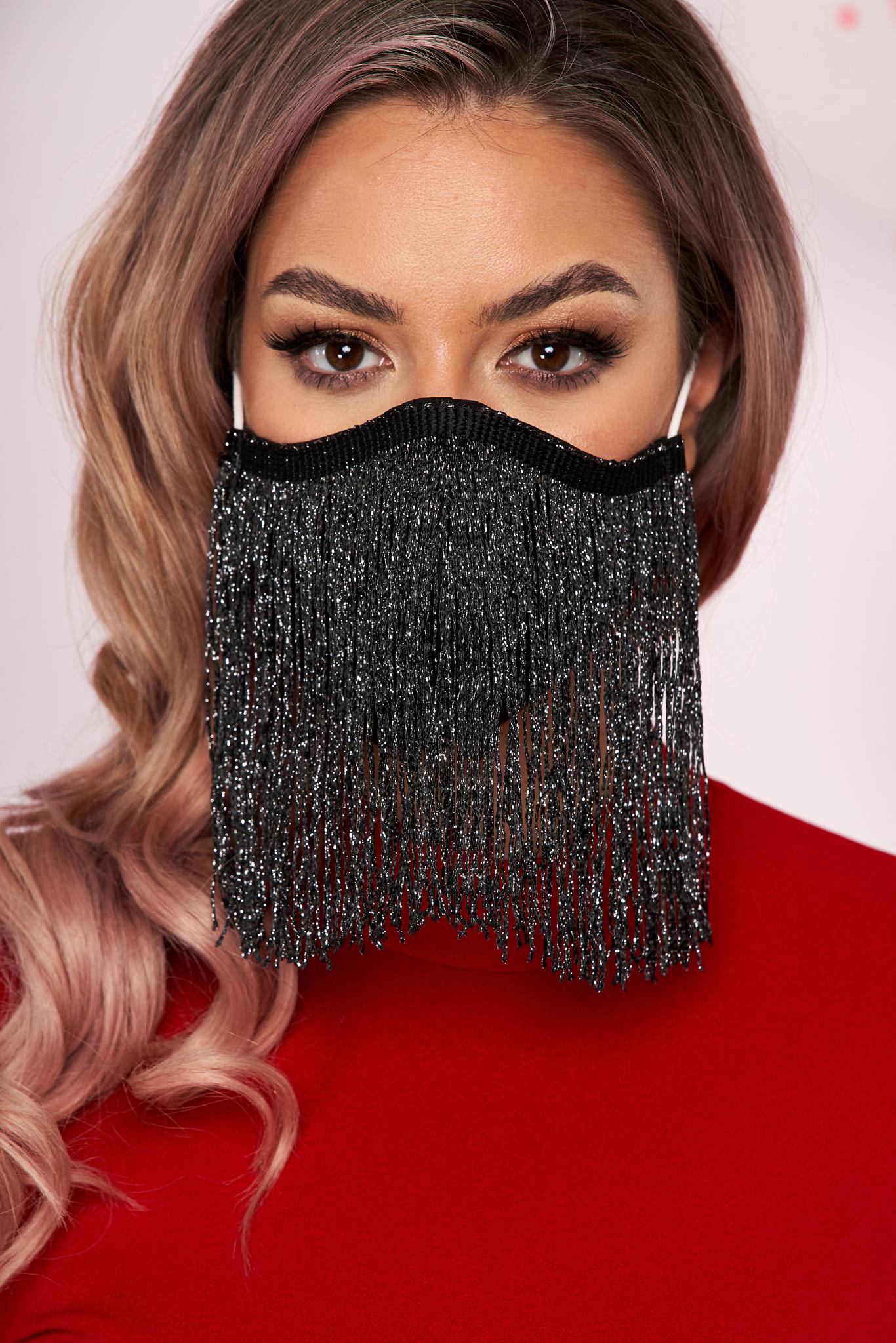 Masca textila pentru femei StarShinerS neagra cu franjuri