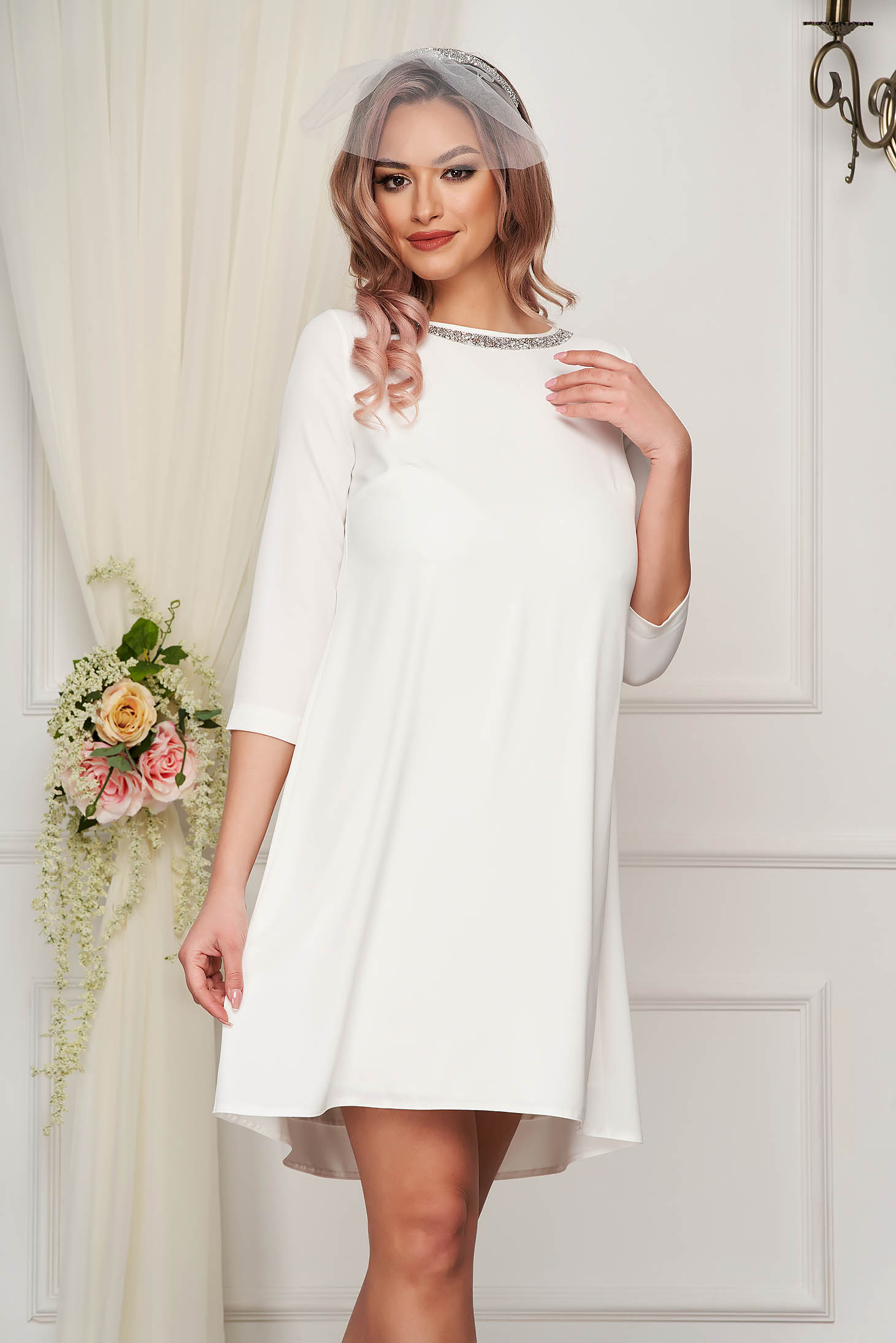 Elegant dress short cut white StarShinerS cloth with 3/4 sleeves loose fit