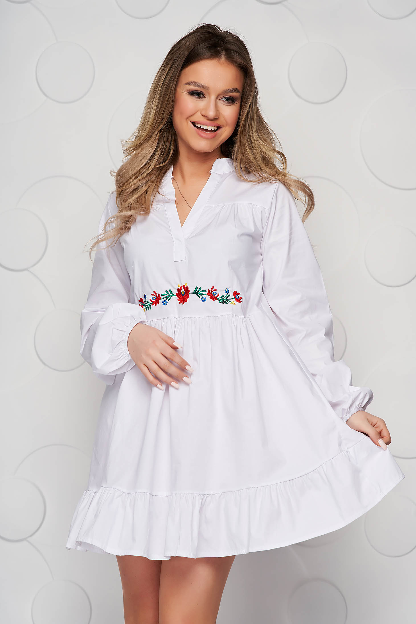 White dress loose fit with ruffle details poplin, thin cotton
