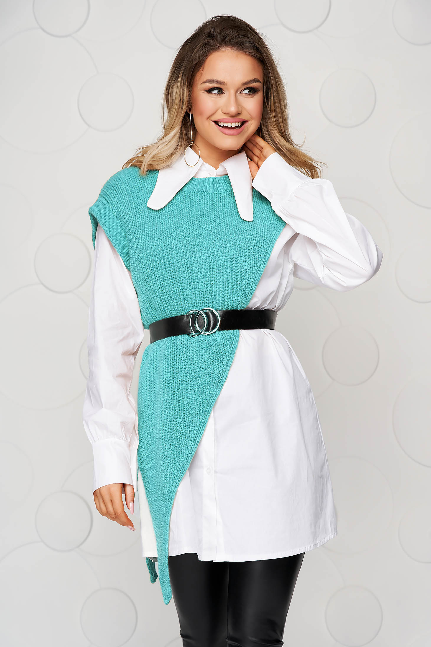 Turquoise women`s shirt fabric overlay accessorized with belt loose fit