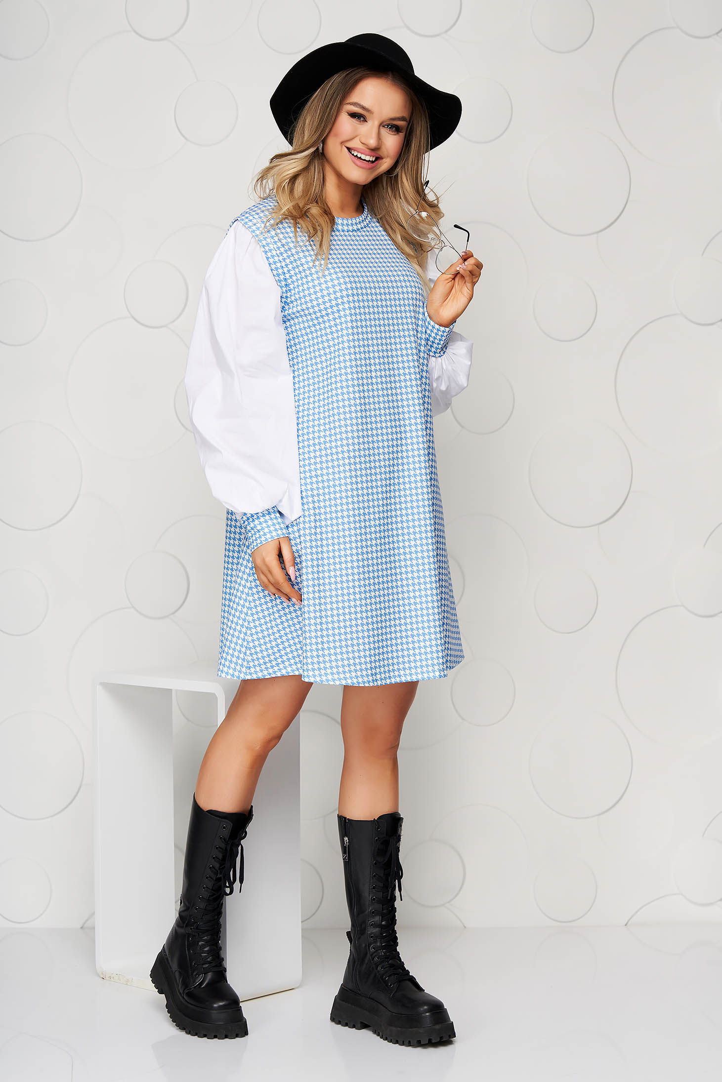 Lightblue dress dogtooth loose fit from elastic fabric
