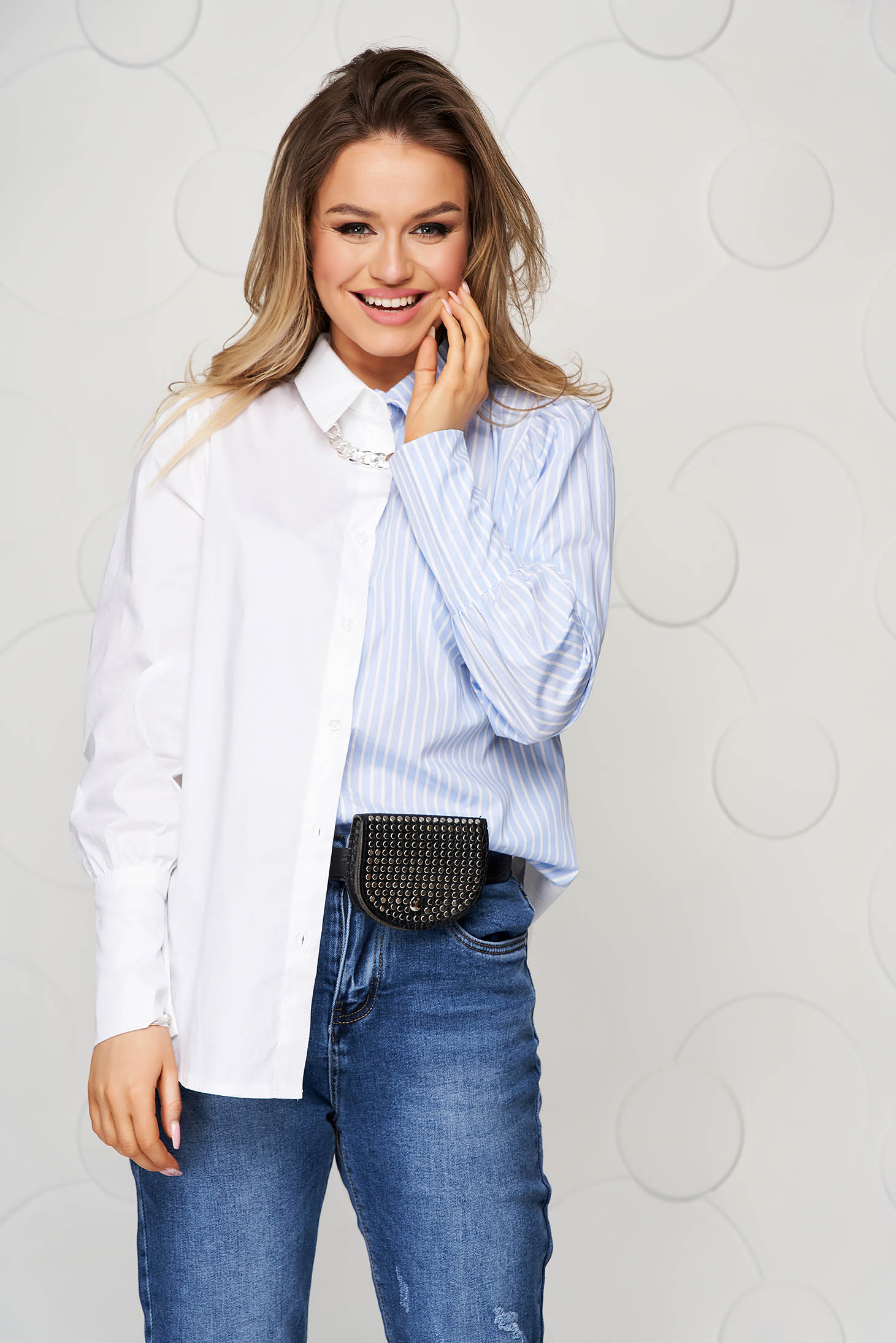 White women`s shirt casual loose fit with stripes