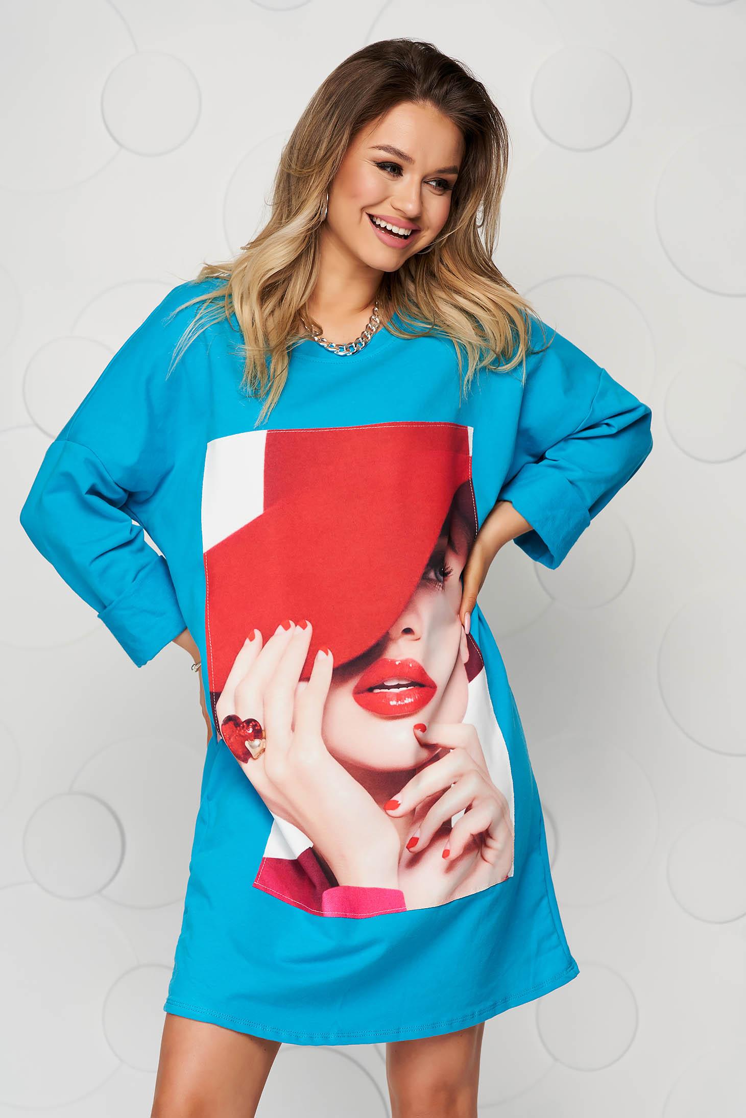 Blue dress cotton with print details loose fit short cut