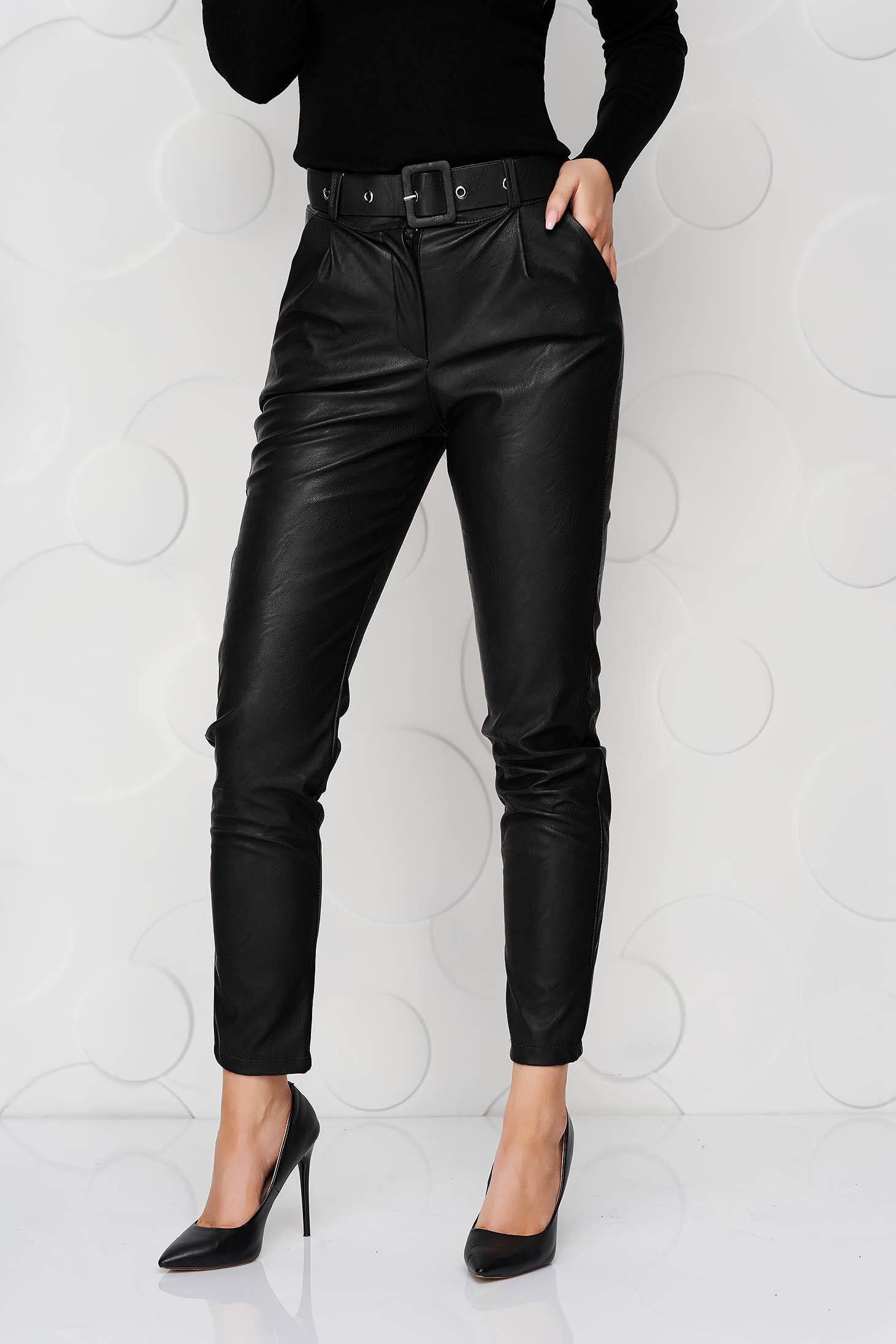 Pantaloni SunShine negri din piele ecologica conici cu accesoriu tip curea