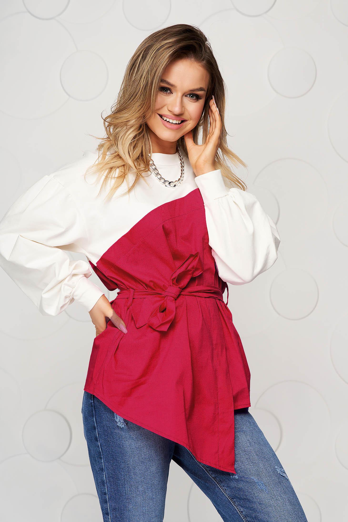 Bluza dama SunShine rosie din bumbac cu croi larg accesorizata cu cordon