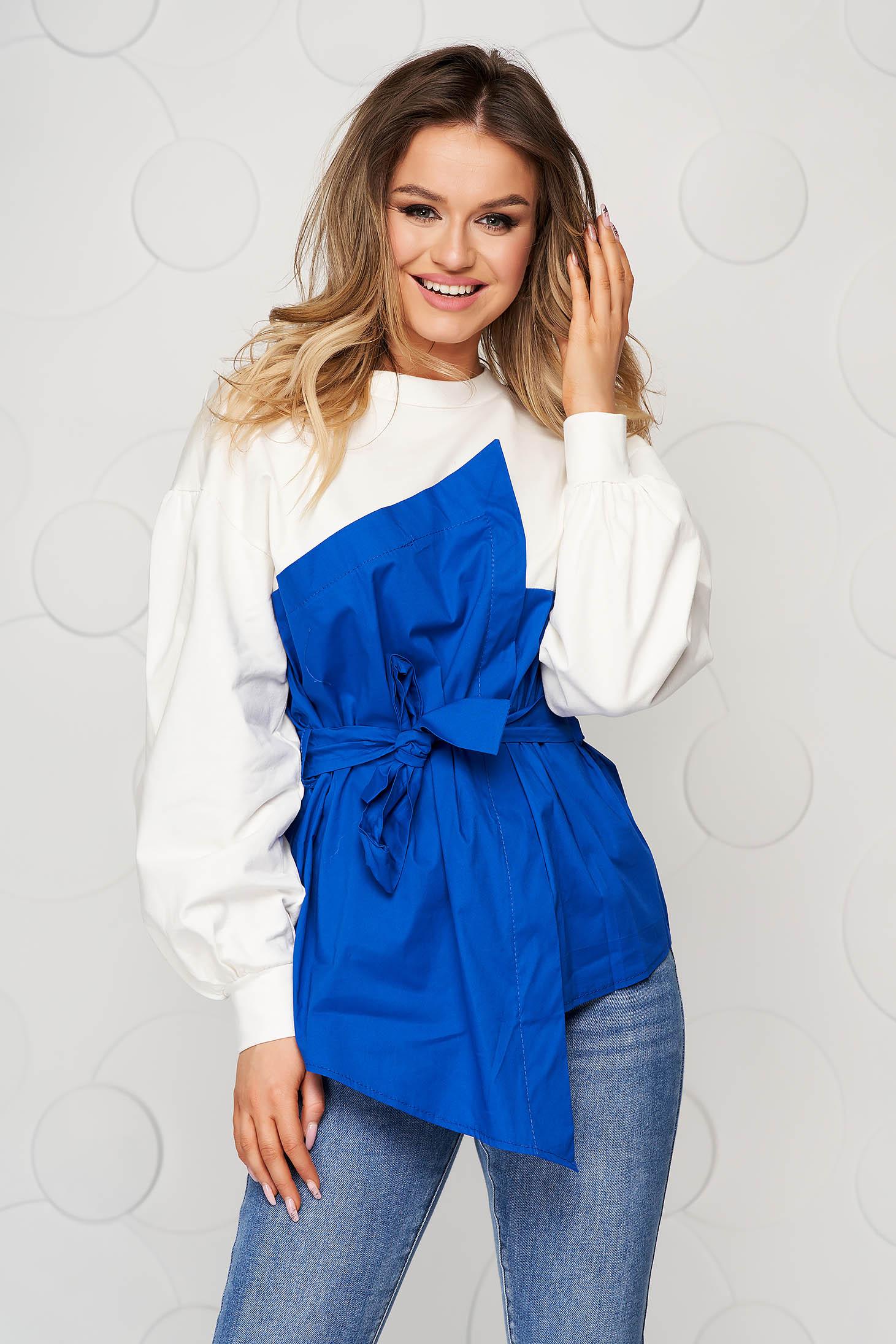 Bluza dama SunShine albastra din bumbac cu croi larg accesorizata cu cordon