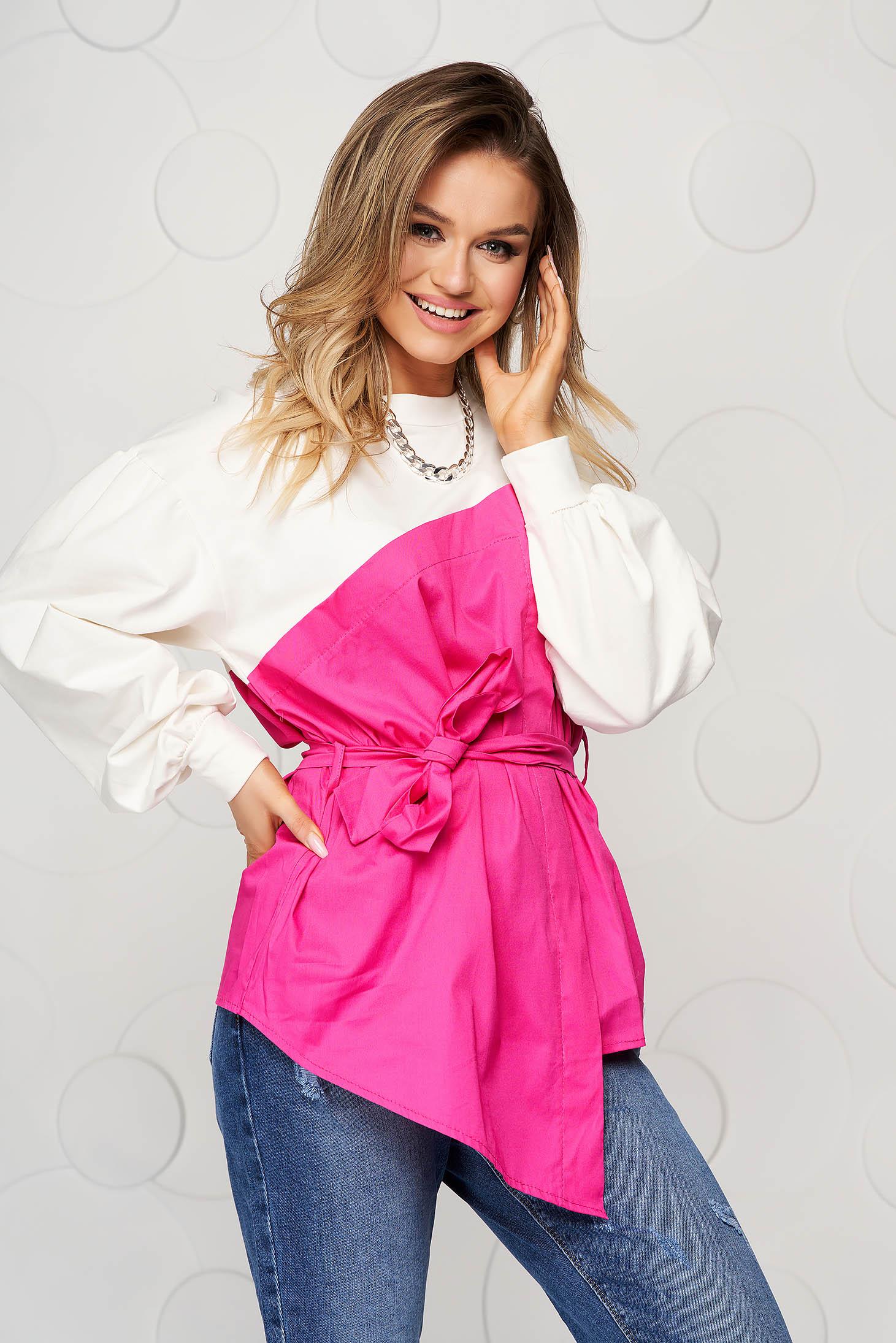 Bluza dama SunShine roz din bumbac cu croi larg accesorizata cu cordon