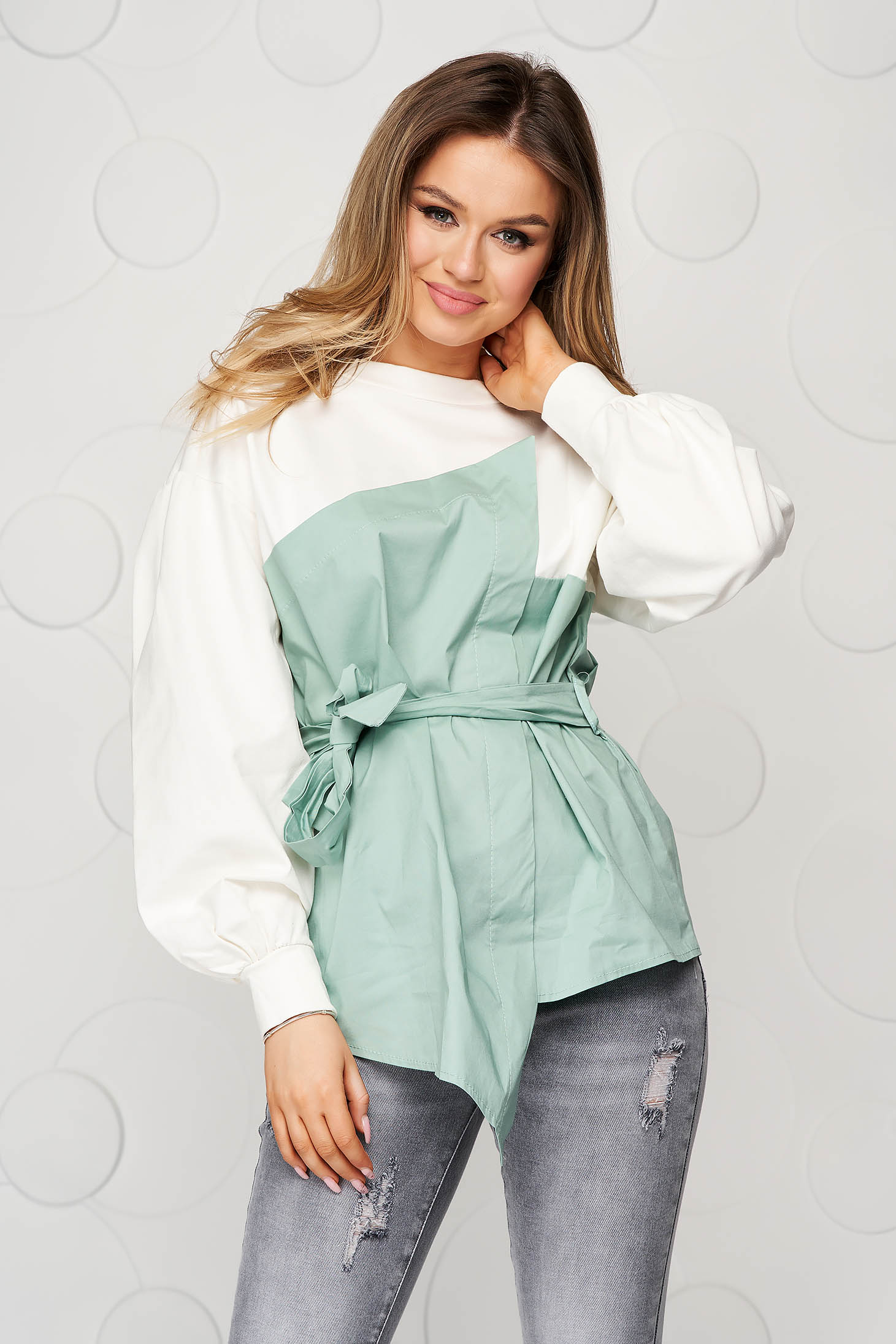 Cotton loose fit accessorized with tied waistband lightgreen women`s blouse