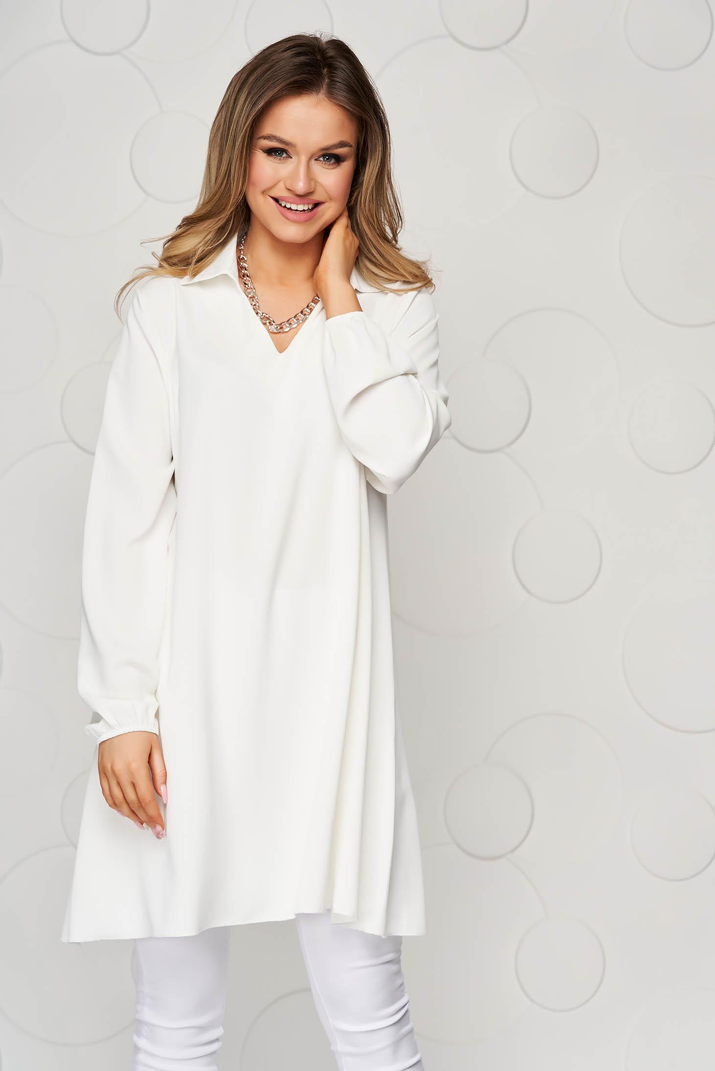 White women`s blouse loose fit transparent chiffon fabric long sleeve