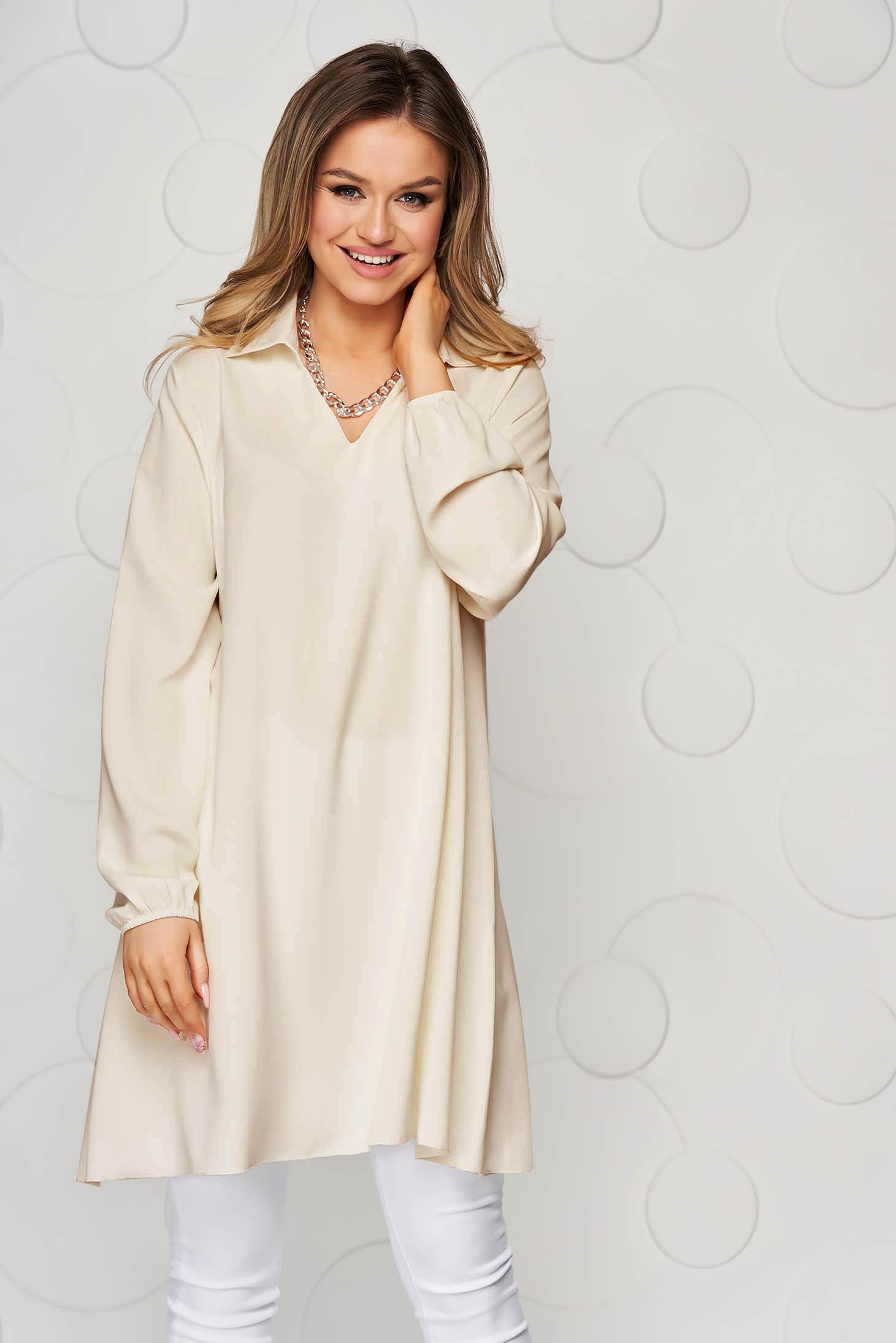 Bluza dama SunShine crem cu croi larg din material vaporos si transparent cu maneca lunga