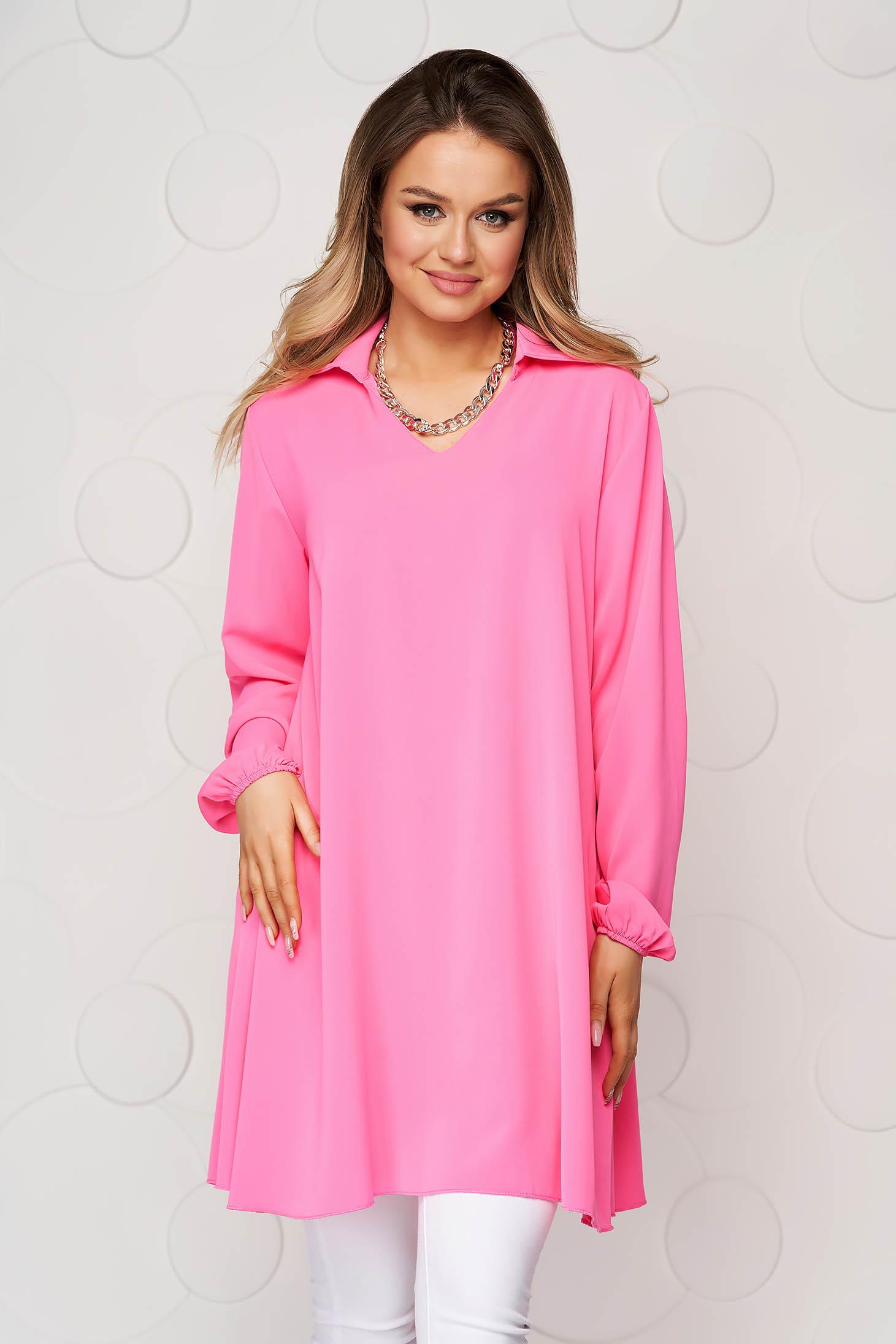 Bluza dama SunShine roz cu croi larg din material vaporos si transparent cu maneca lunga
