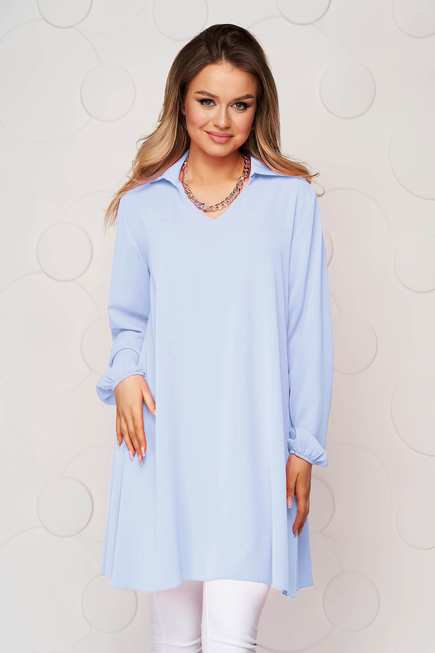 Blue women`s blouse loose fit transparent chiffon fabric long sleeve