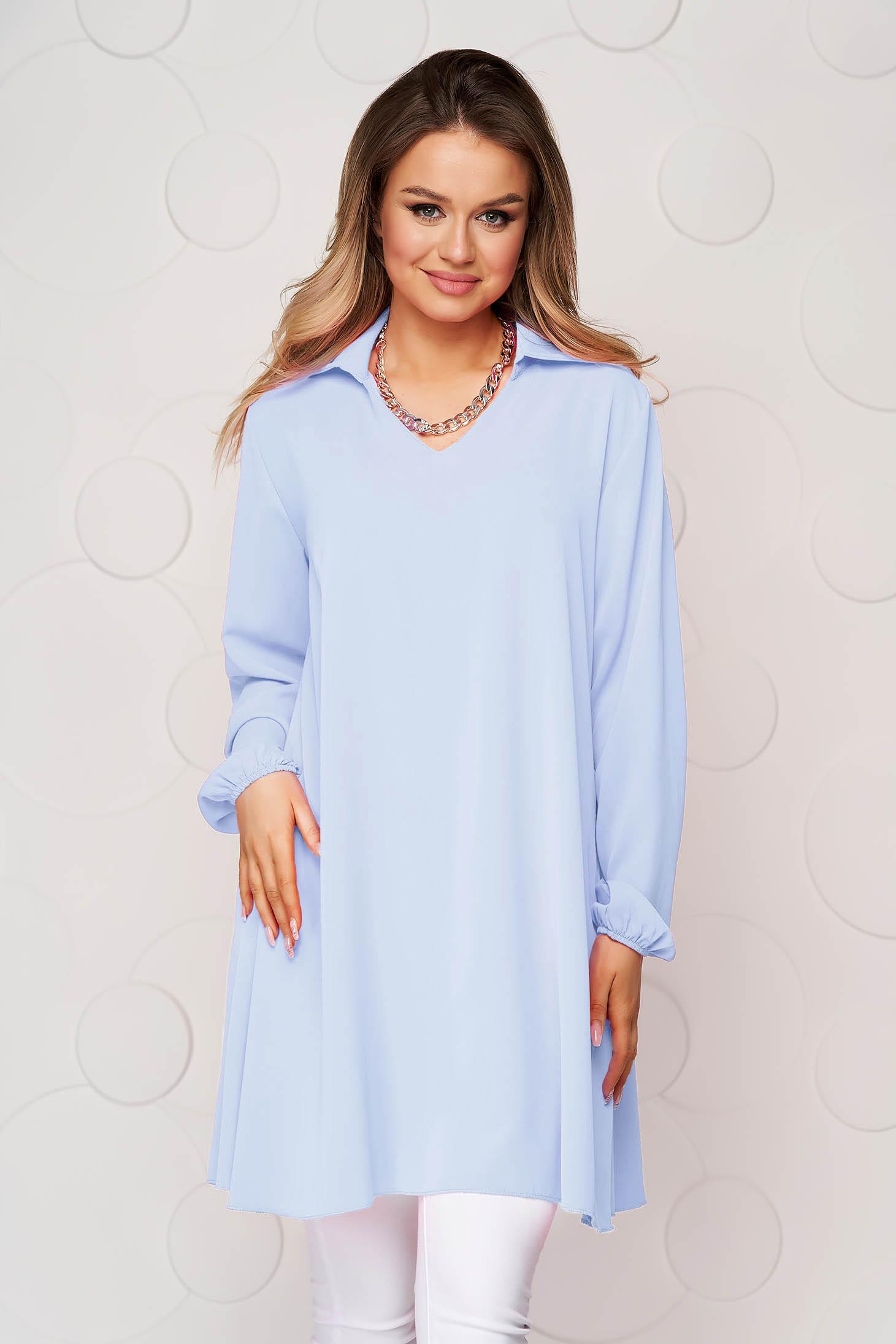 Bluza dama SunShine albastra cu croi larg din material vaporos si transparent cu maneca lunga