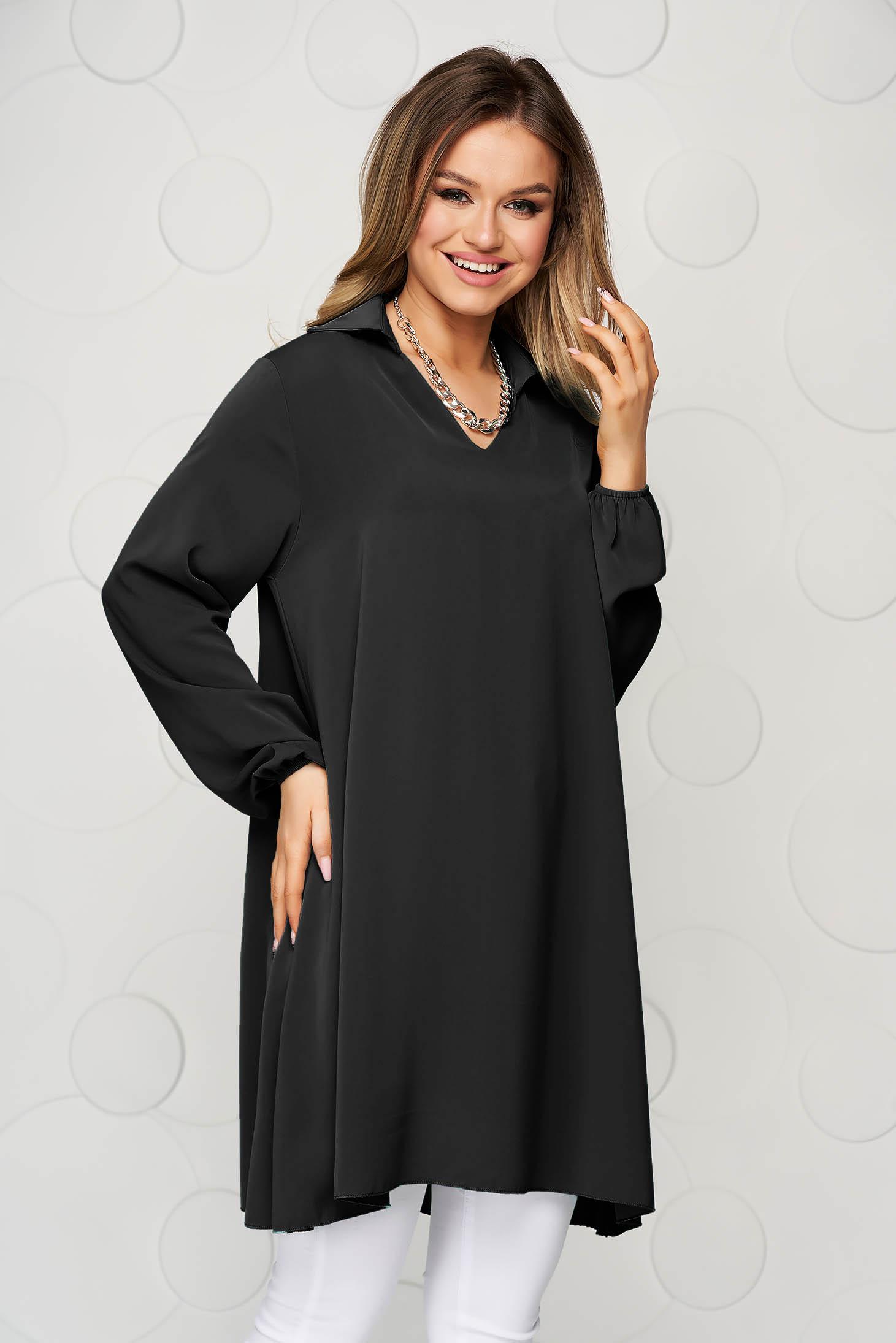 Black women`s blouse loose fit transparent chiffon fabric long sleeve