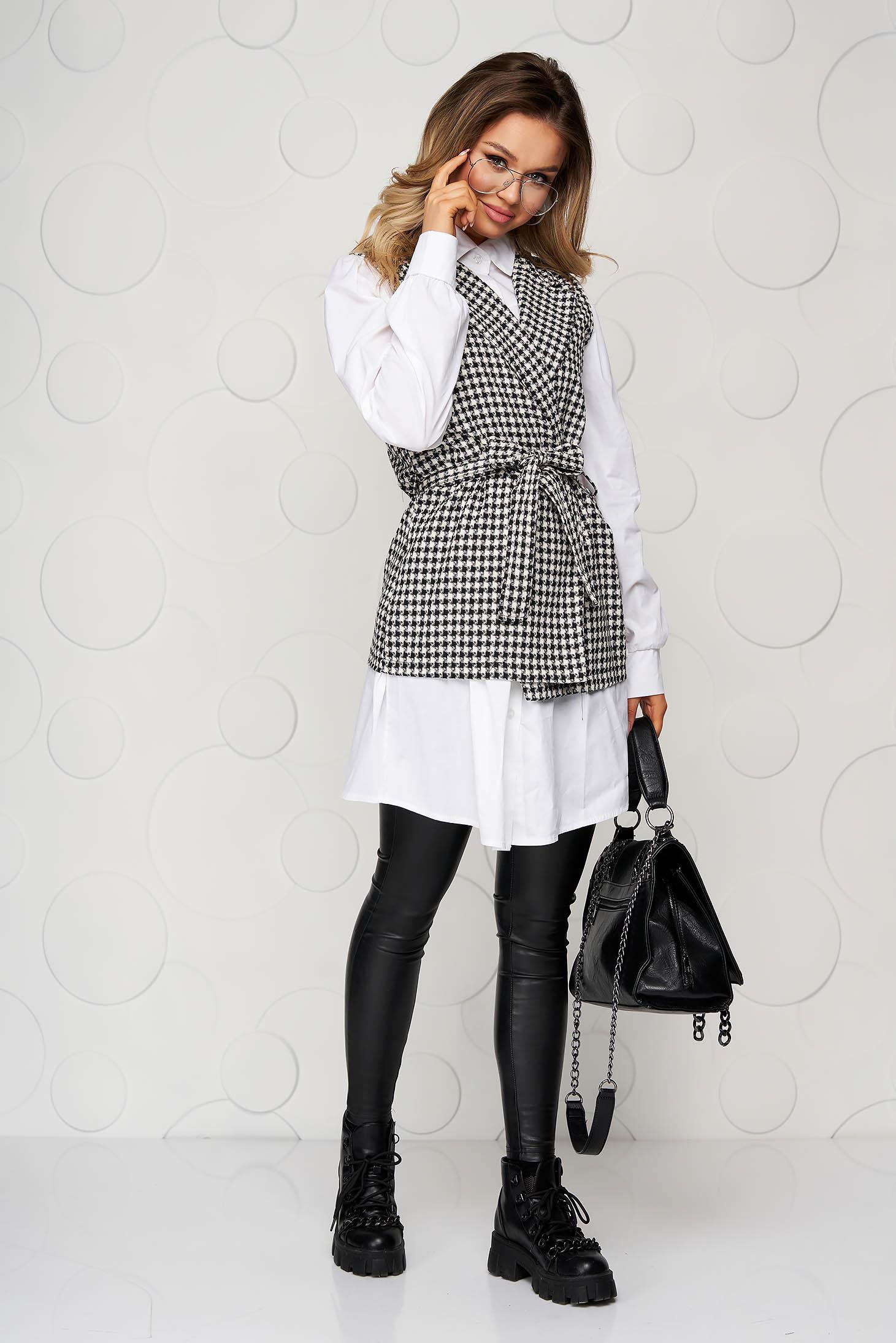 Camasa dama SunShine neagra casual in carouri accesorizata cu cordon cu croi larg