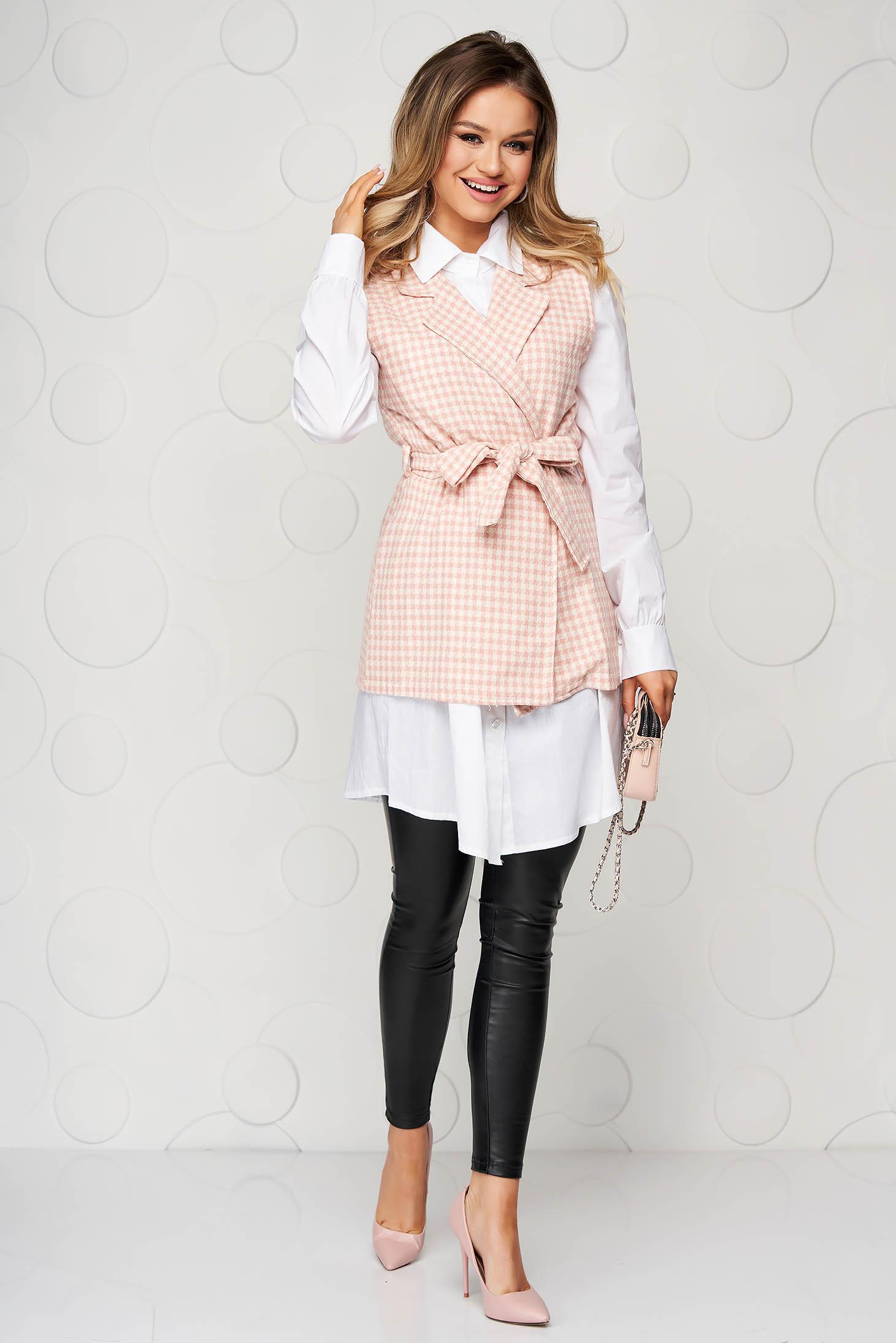 Camasa dama SunShine roz casual in carouri accesorizata cu cordon cu croi larg