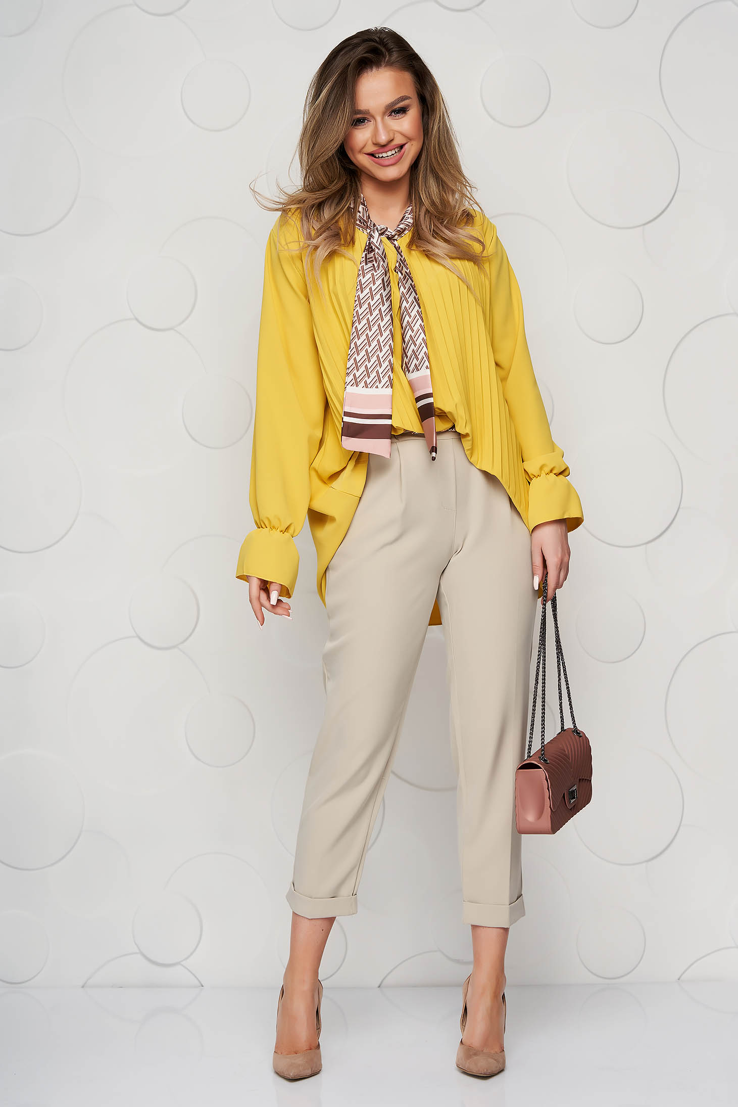 Women`s blouse yellow office loose fit folded up