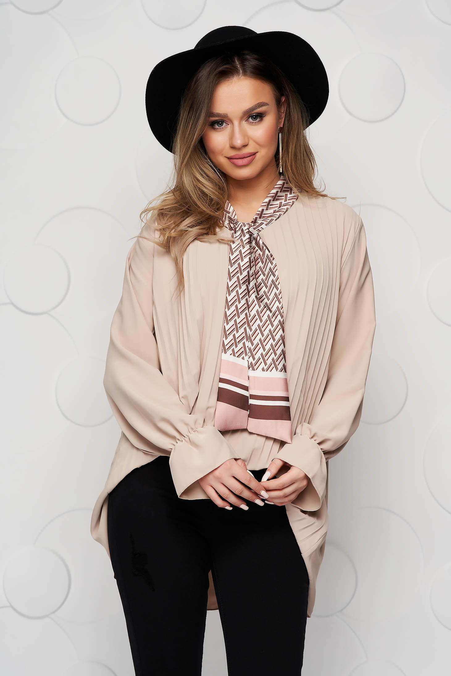 Women`s blouse cream office loose fit folded up