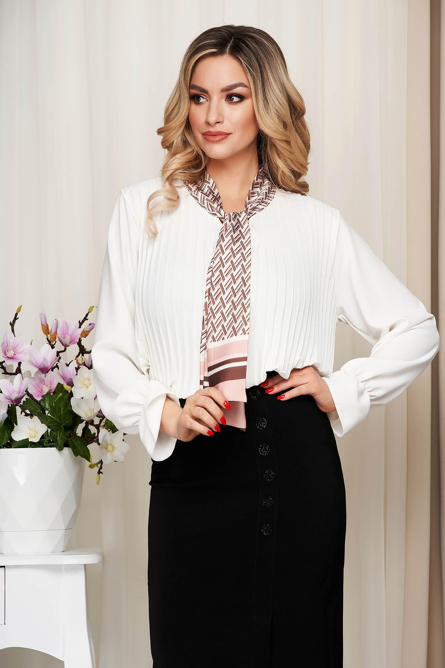 Bluza dama SunShine alba office cu croi larg plisata cu guler tip esarfa