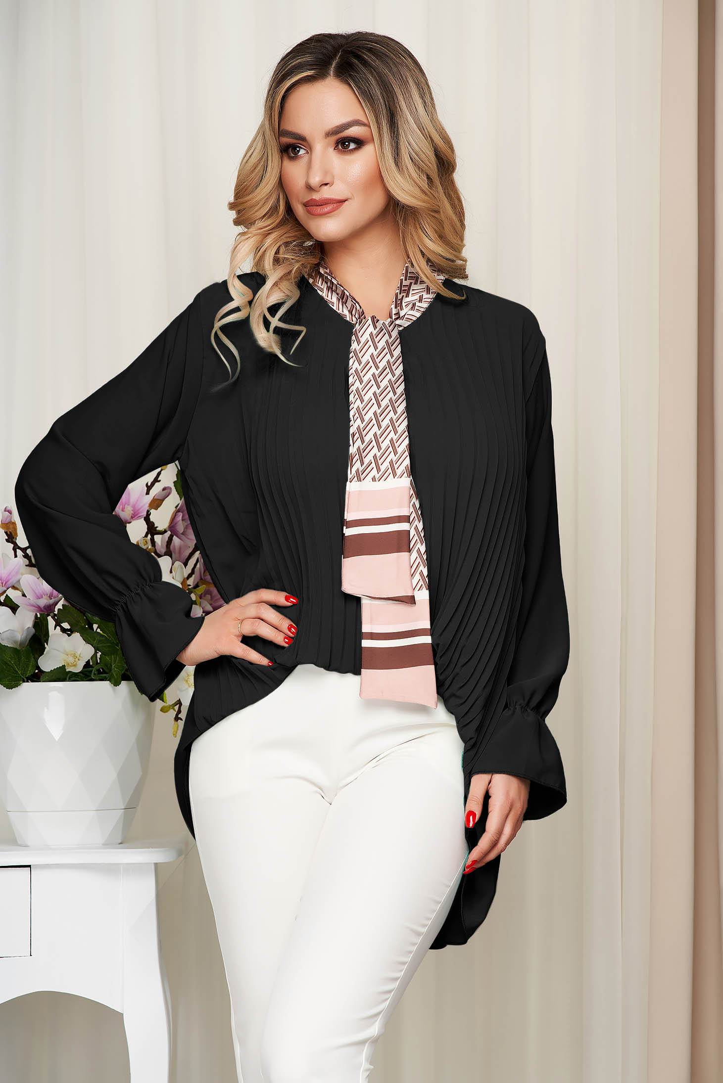 Women`s blouse black office loose fit folded up