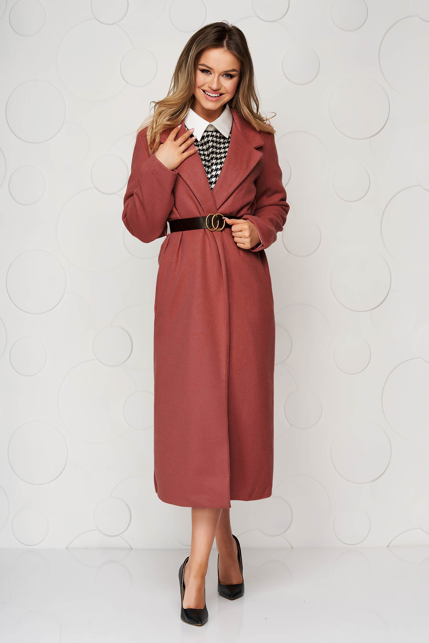 Bricky overcoat long straight accessorized with belt with pockets