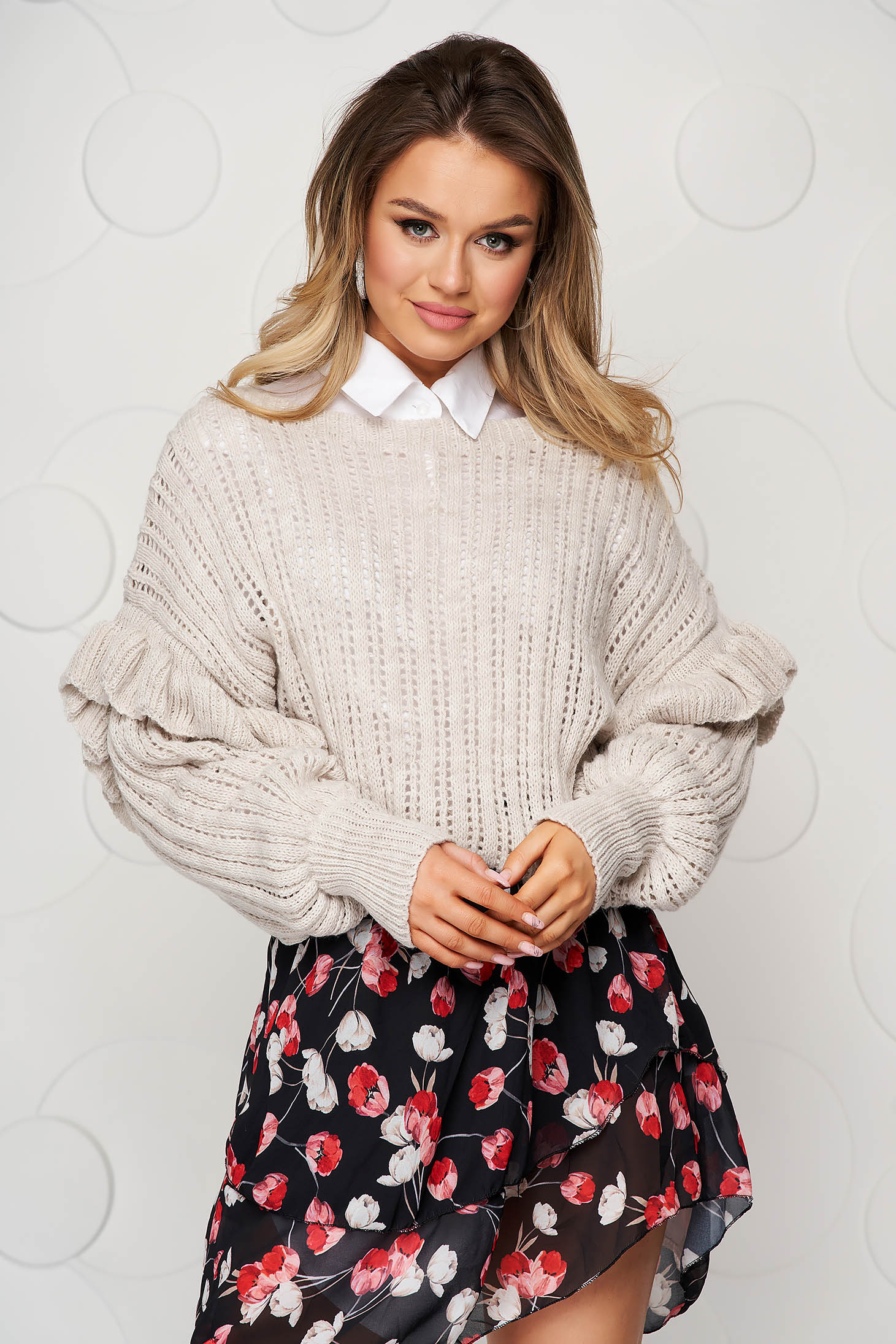 Knitted cream sweater transparent fabric with ruffle details loose fit