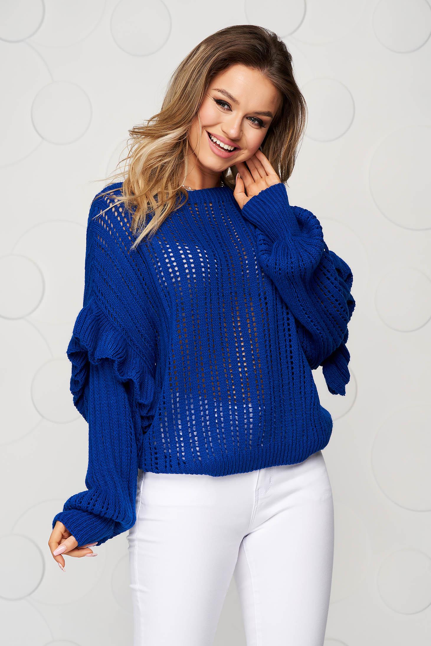 Pulover SunShine albastru tricotat transparent cu croi larg si volanase la maneci