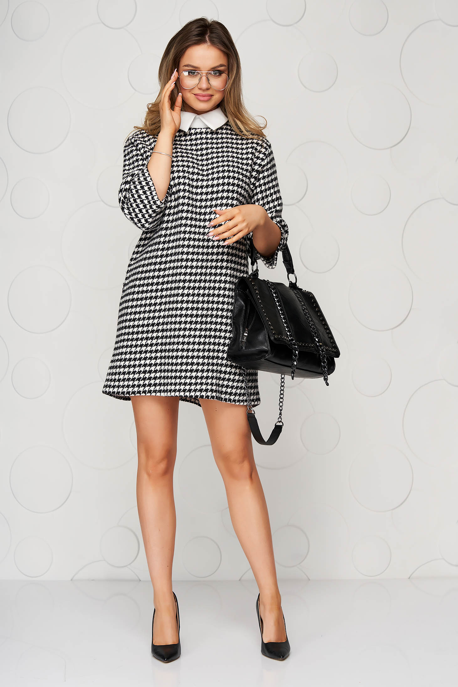 Black dress dogtooth from thick fabric short cut