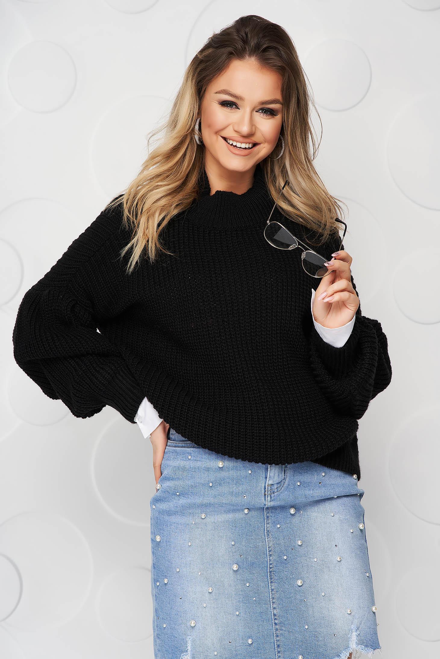 Fekete pulóver kötött casual bő ujjú bő szabású