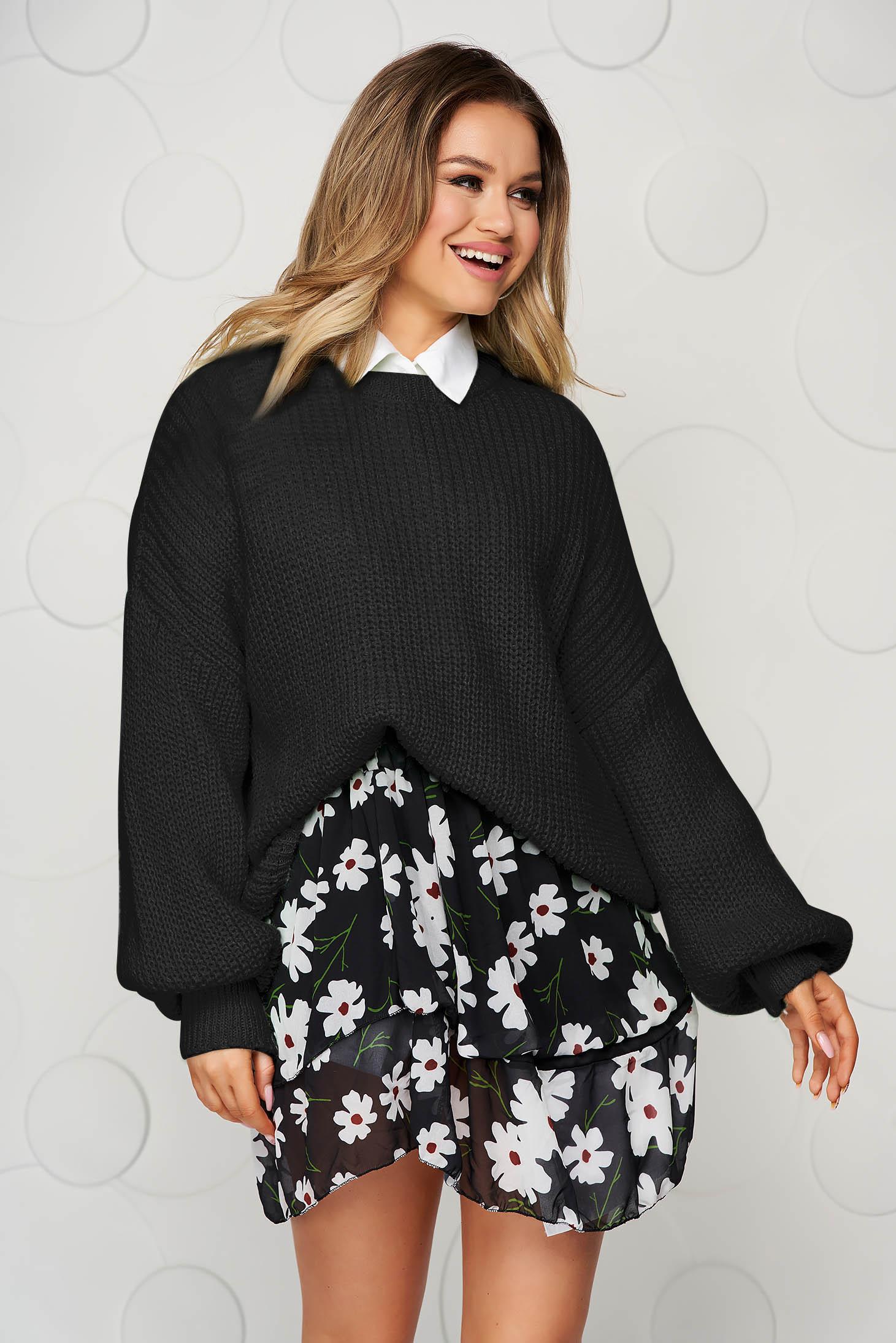 Pulover SunShine negru tricotat cu maneci bufante si cu croi larg