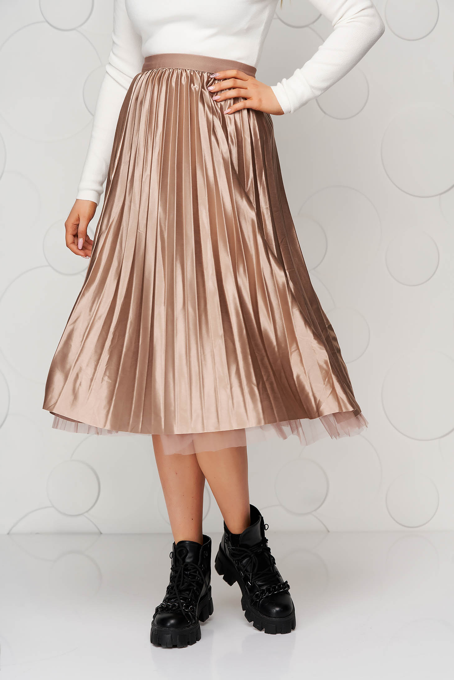 Cappuccino skirt midi from tulle from satin folded up clubbing double-faced