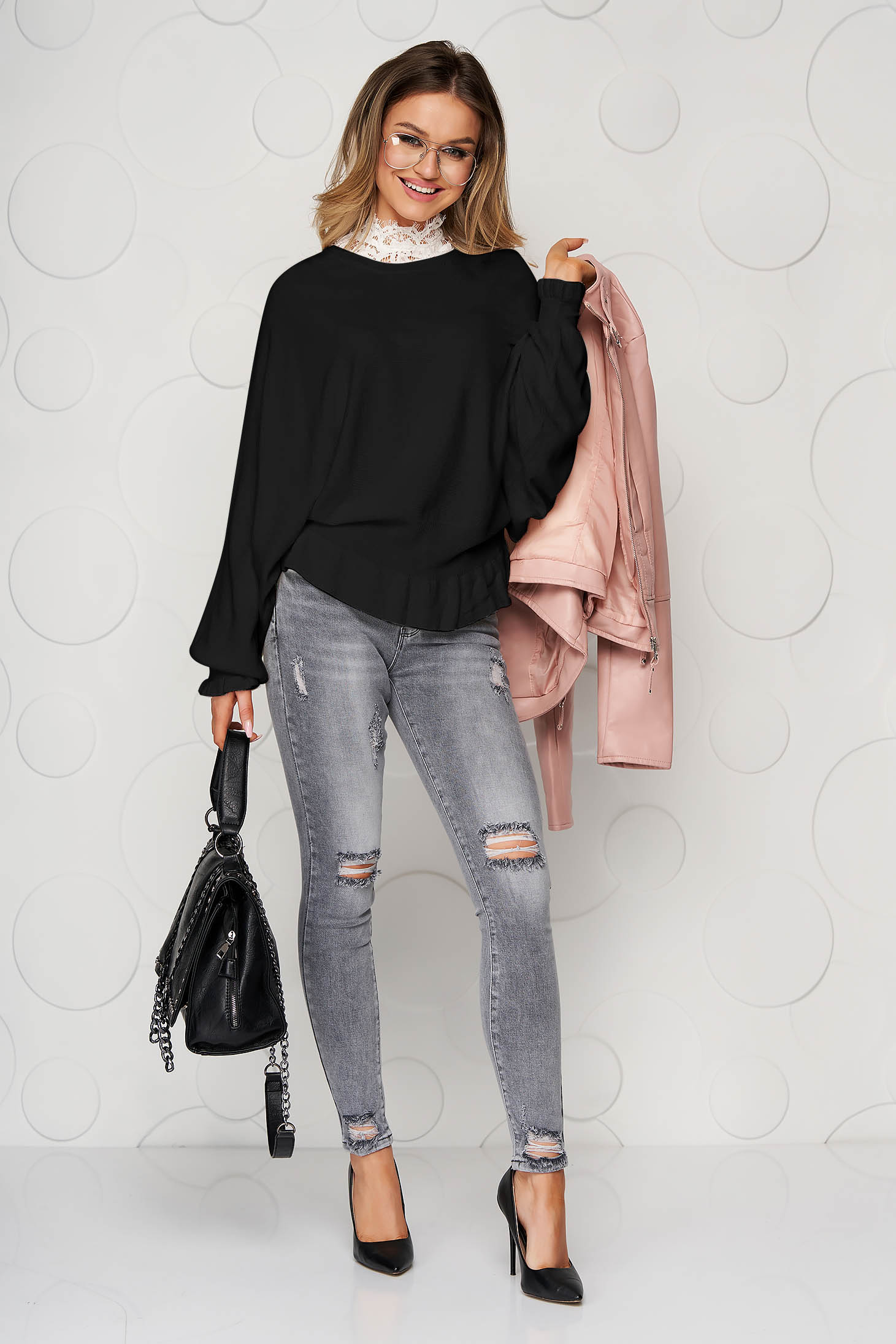 Black women`s blouse casual knitted from elastic and fine fabric from striped fabric with ruffle details