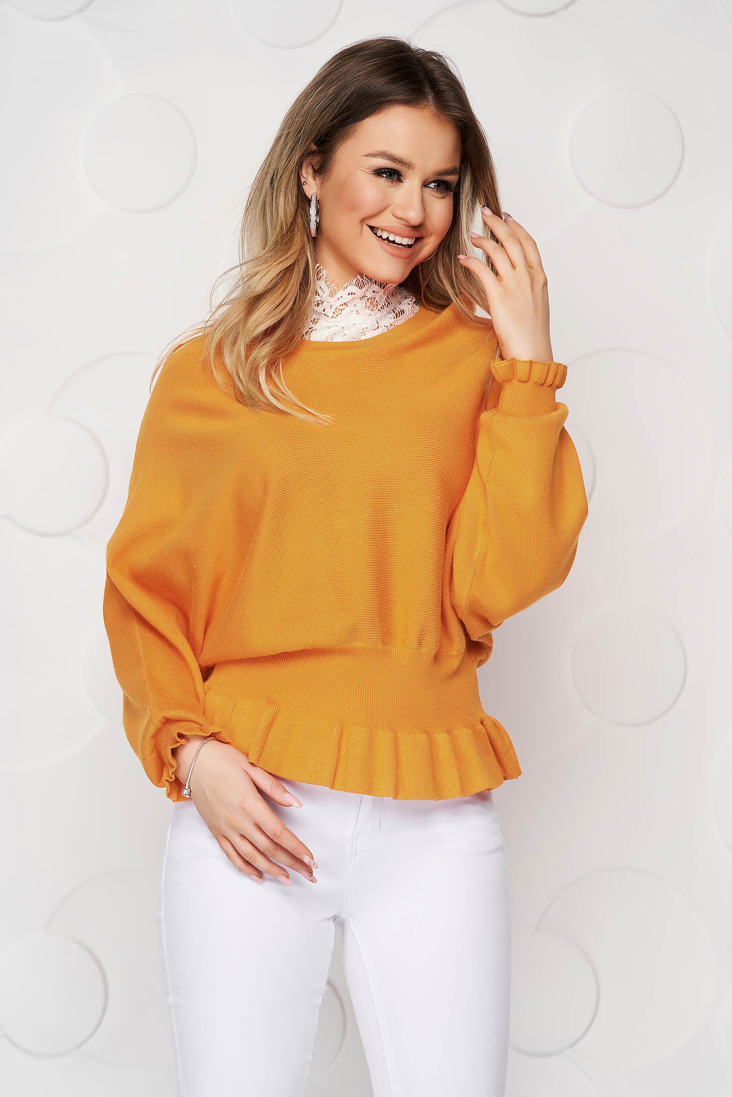 Mustard women`s blouse casual knitted from elastic and fine fabric from striped fabric with ruffle details