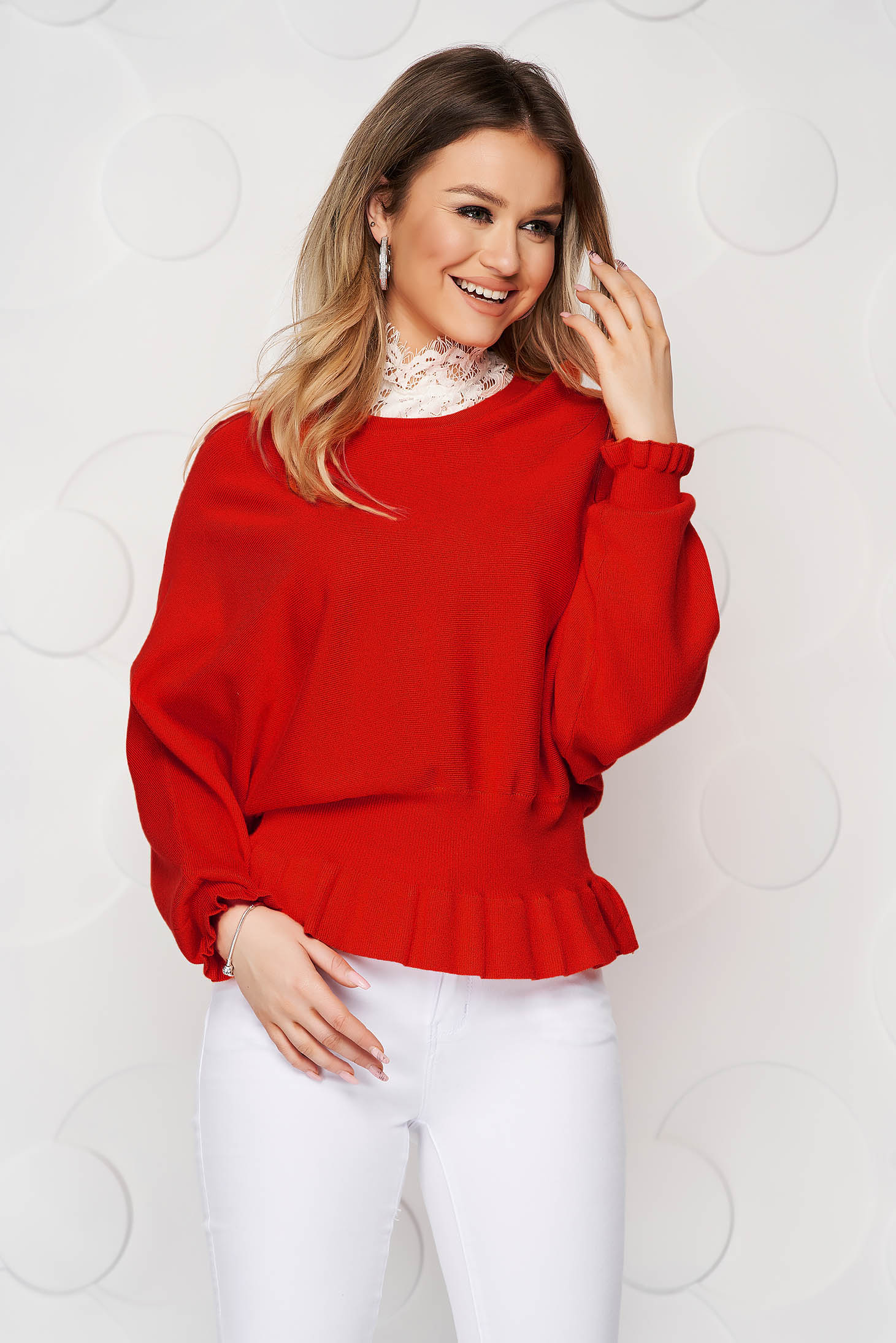 Bluza dama SunShine rosie casual din tricot reiat elastic si fin cu volanase