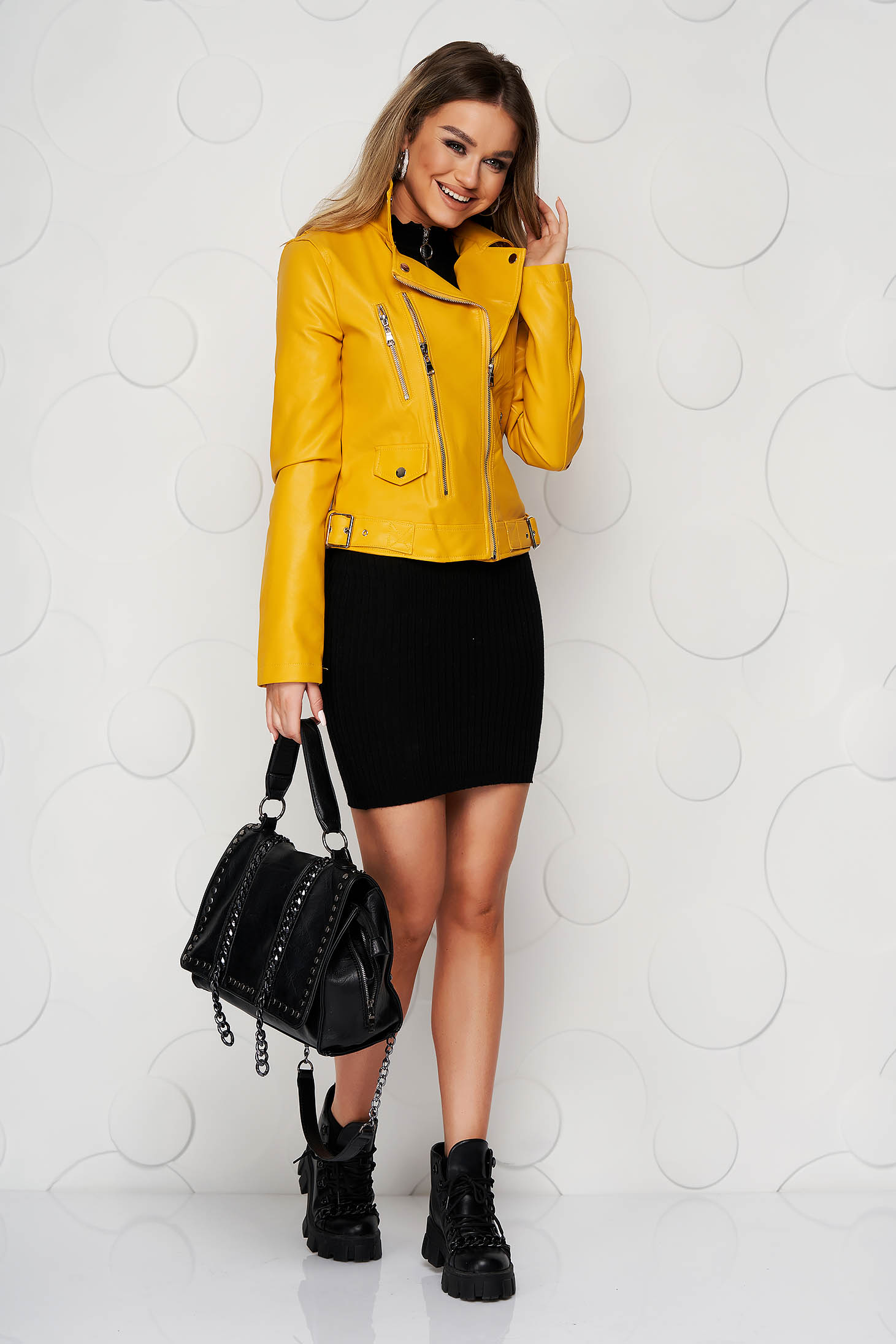 Yellow jacket from ecological leather short cut casual zipper accessory