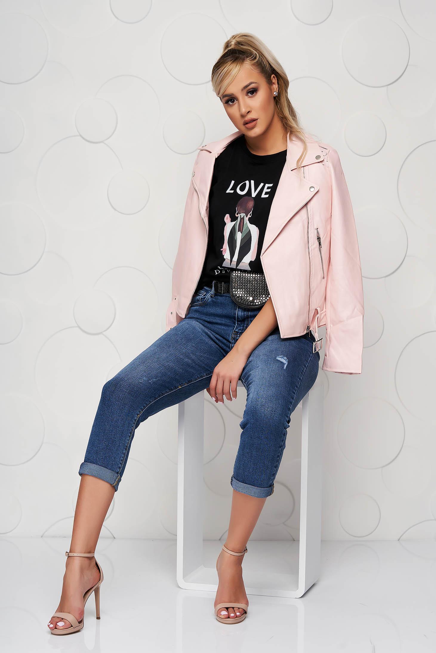 Casual pink rövid műbőr dzseki öv típusú kiegészítővel