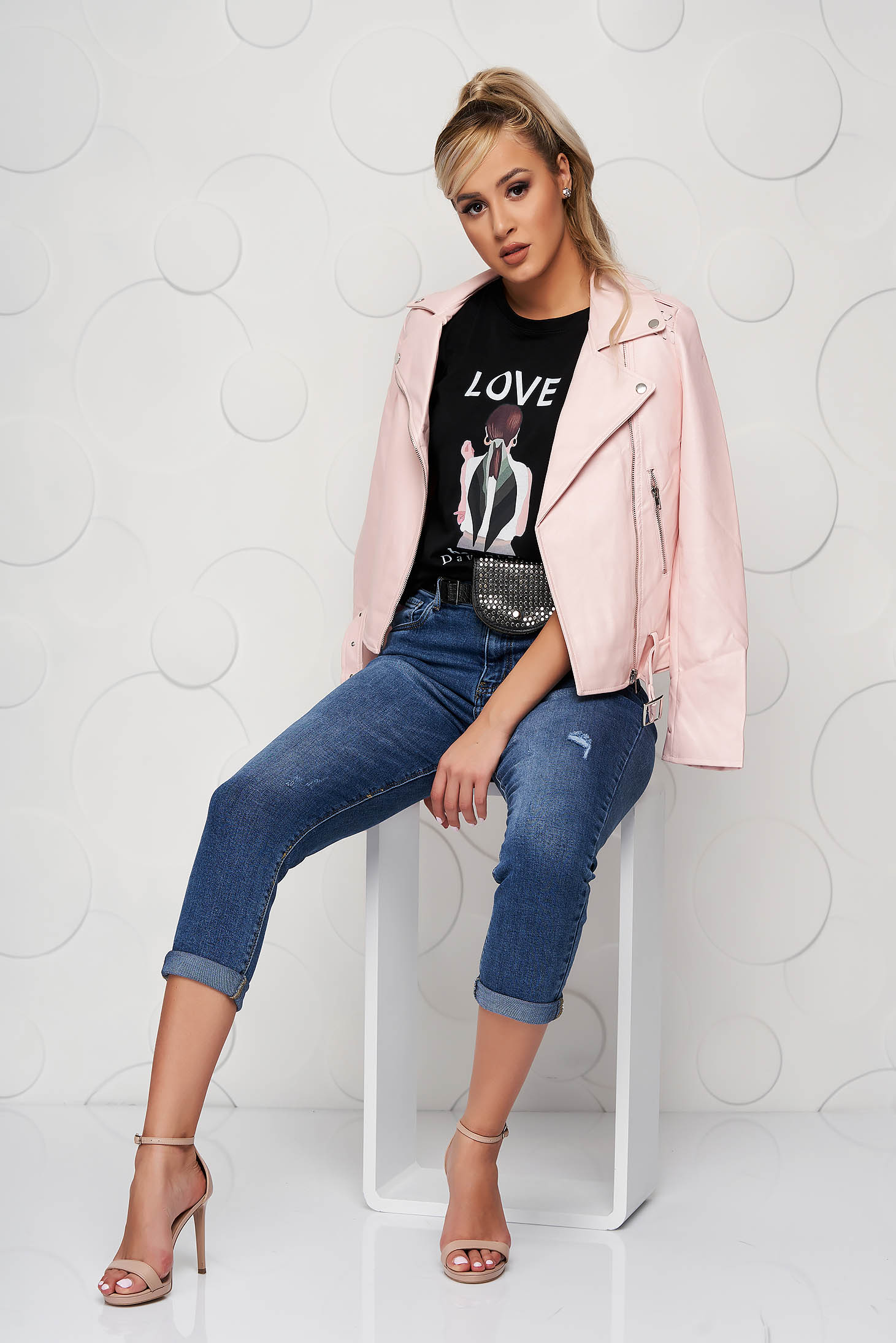 Pink from ecological leather casual short cut jacket accessorized with belt