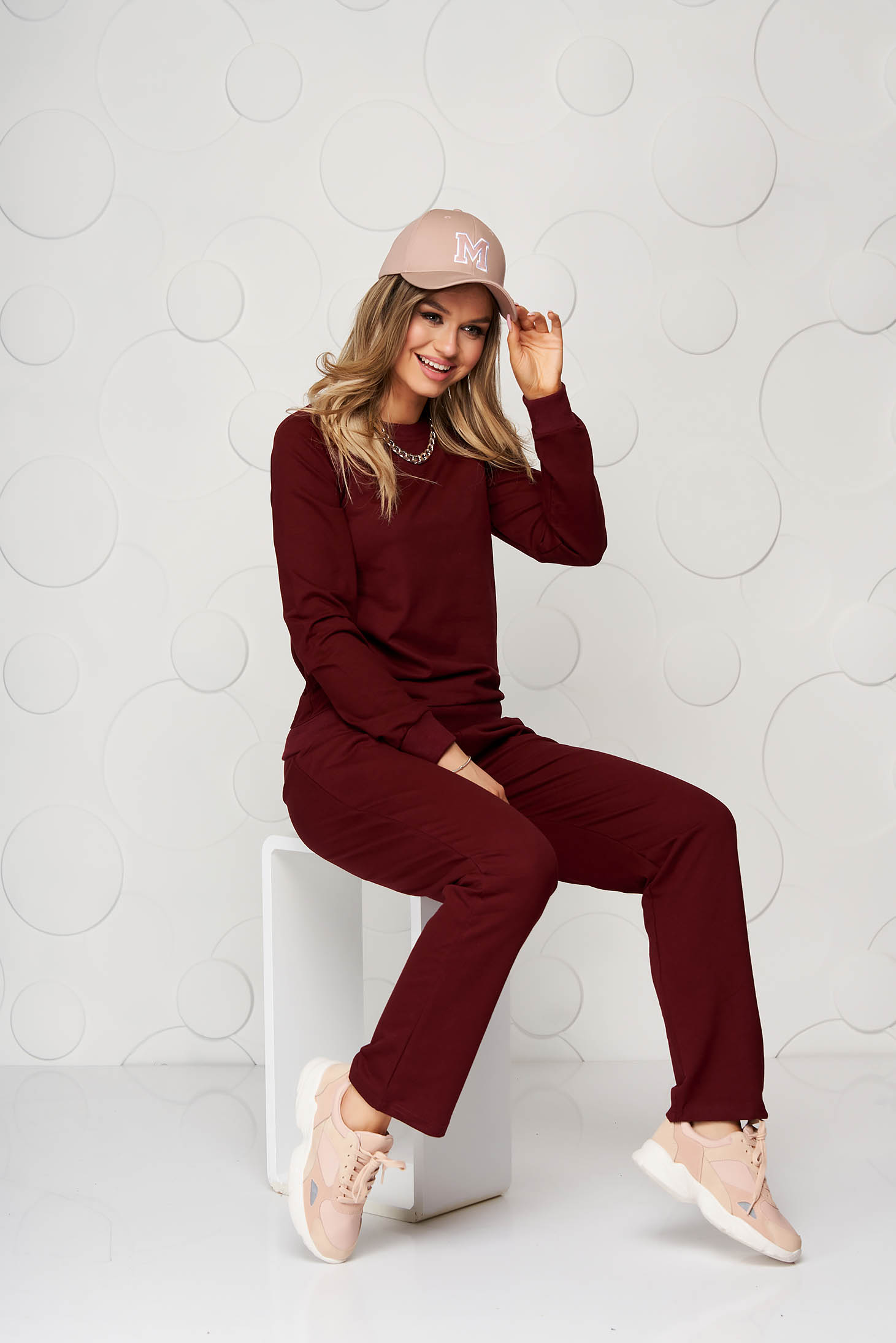 Burgundy sport 2 pieces cotton casual loose fit