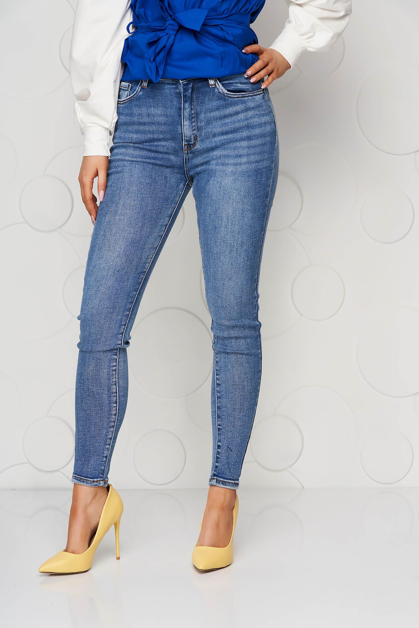Blugi SunShine albastri vintage skinny elastici cu talie inalta