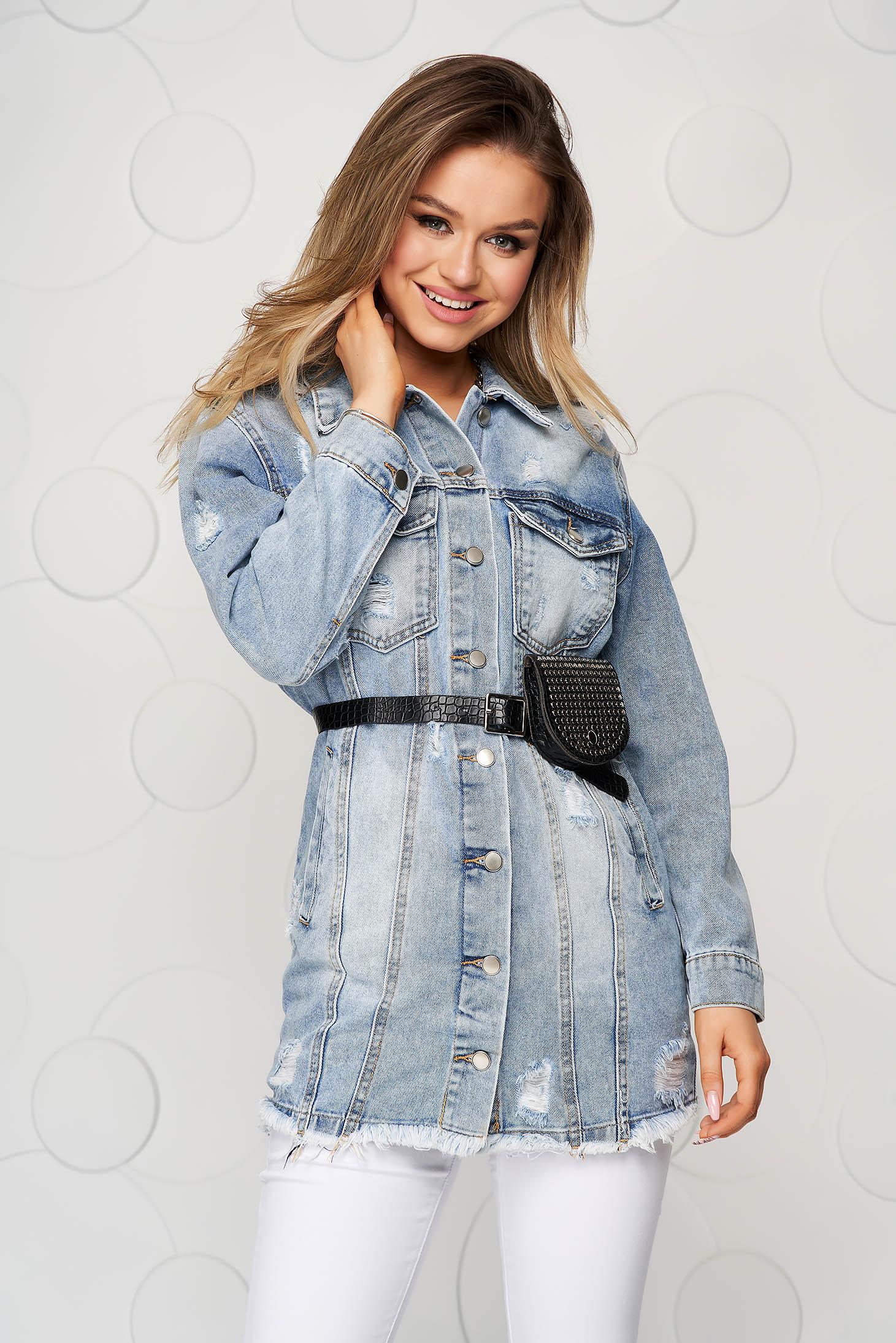 Kék hosszú egyenes casual dzseki öv típusú kiegészítővel
