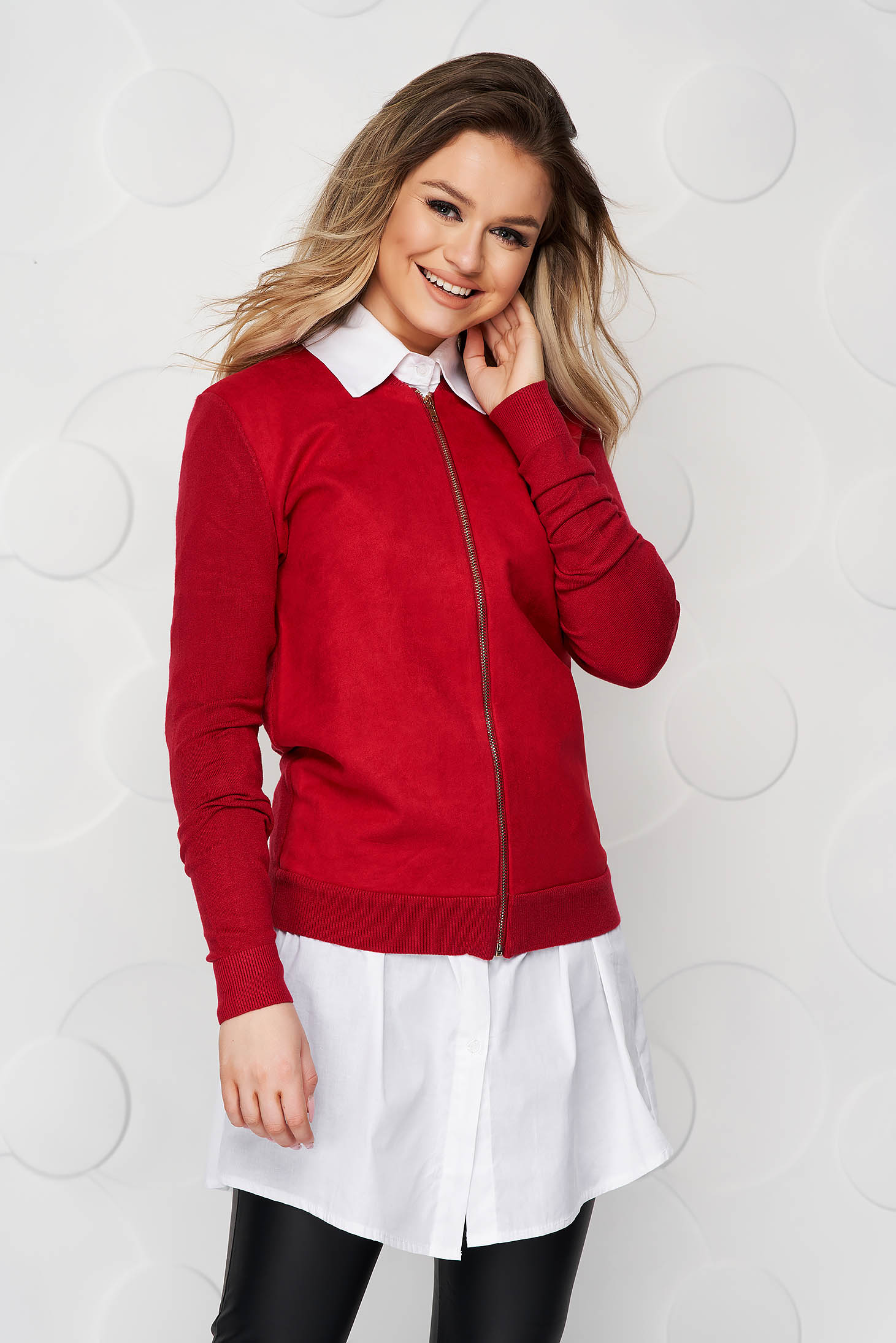 Burgundy women`s blouse casual loose fit from elastic fabric