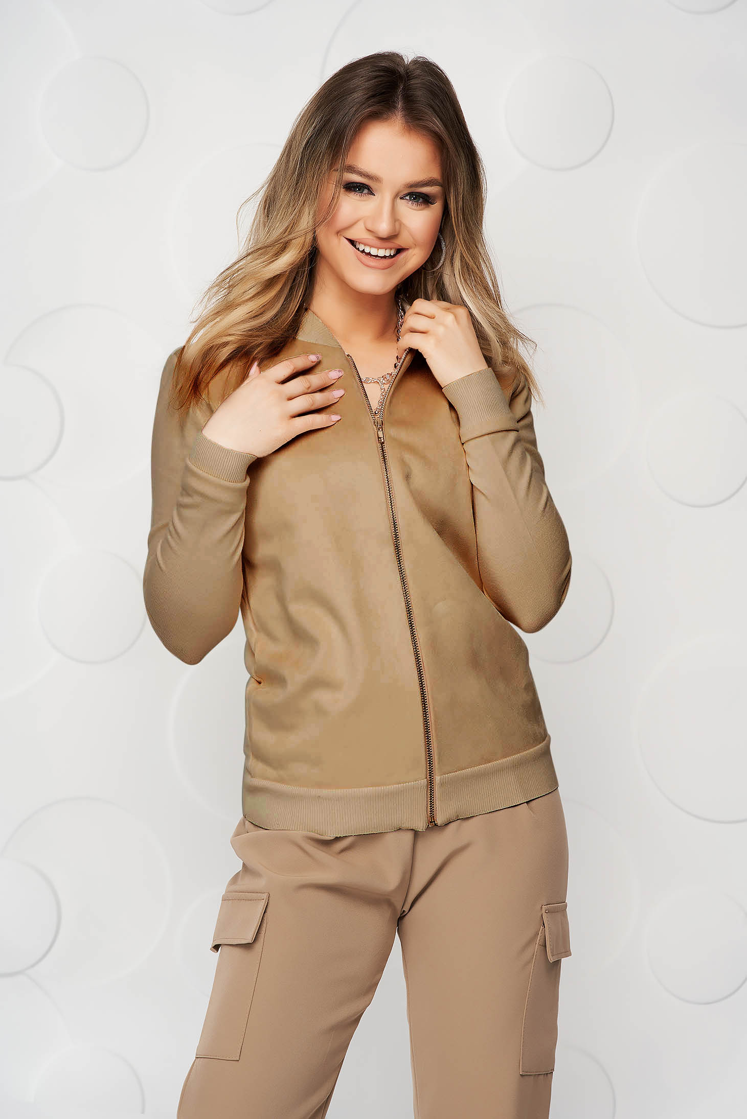 Cappuccino women`s blouse casual loose fit from elastic fabric