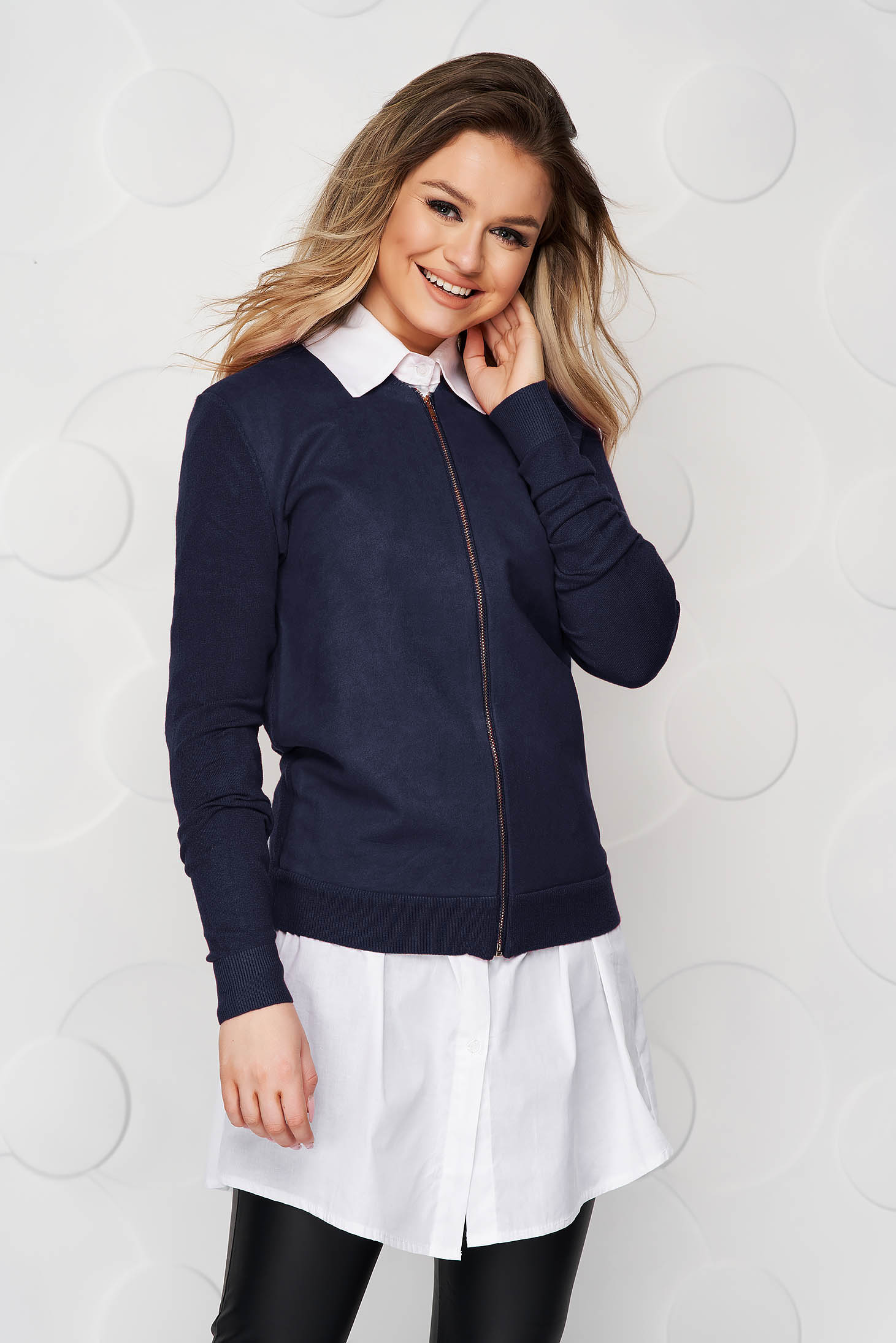 Darkblue women`s blouse casual loose fit from elastic fabric