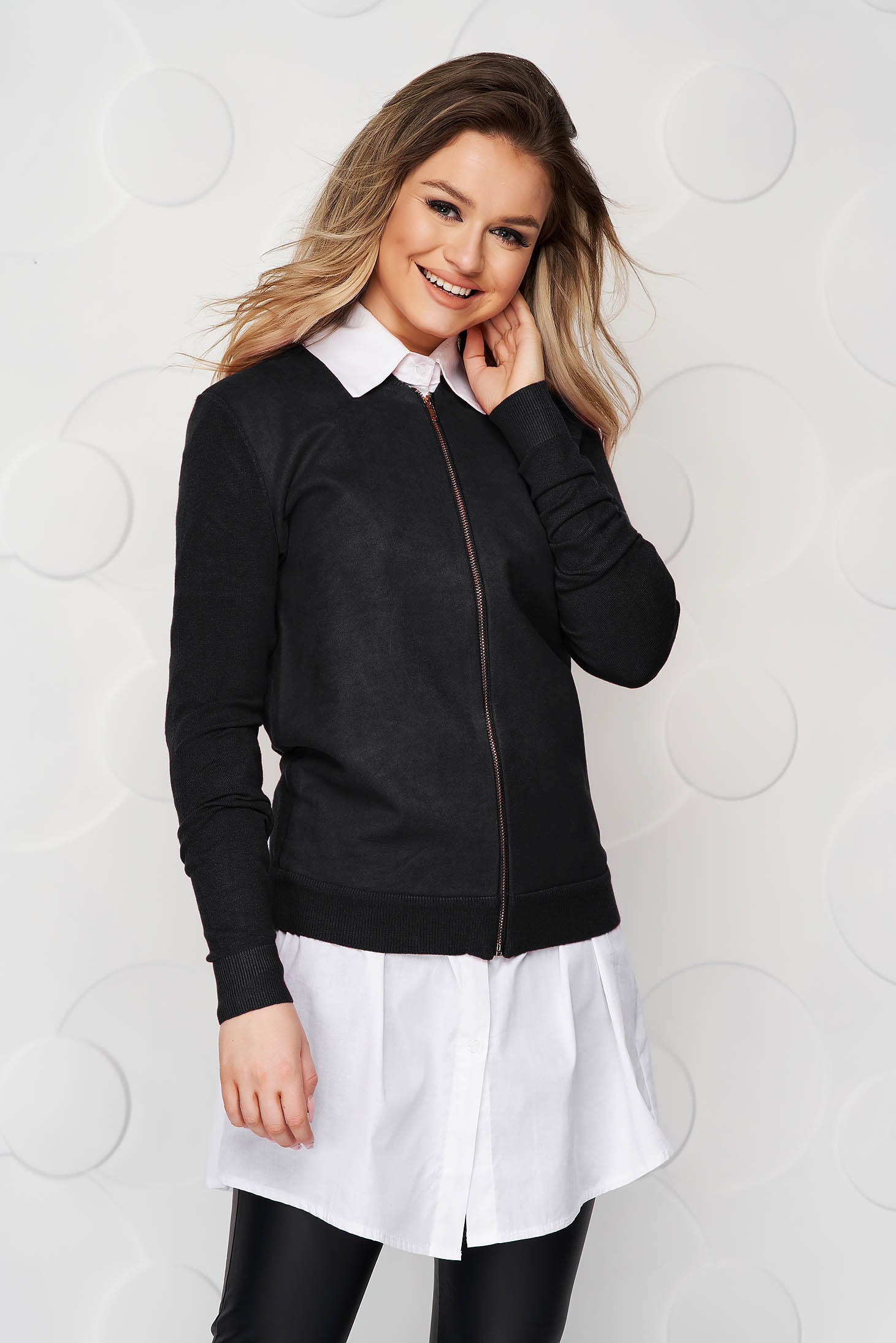 Black women`s blouse casual loose fit from elastic fabric