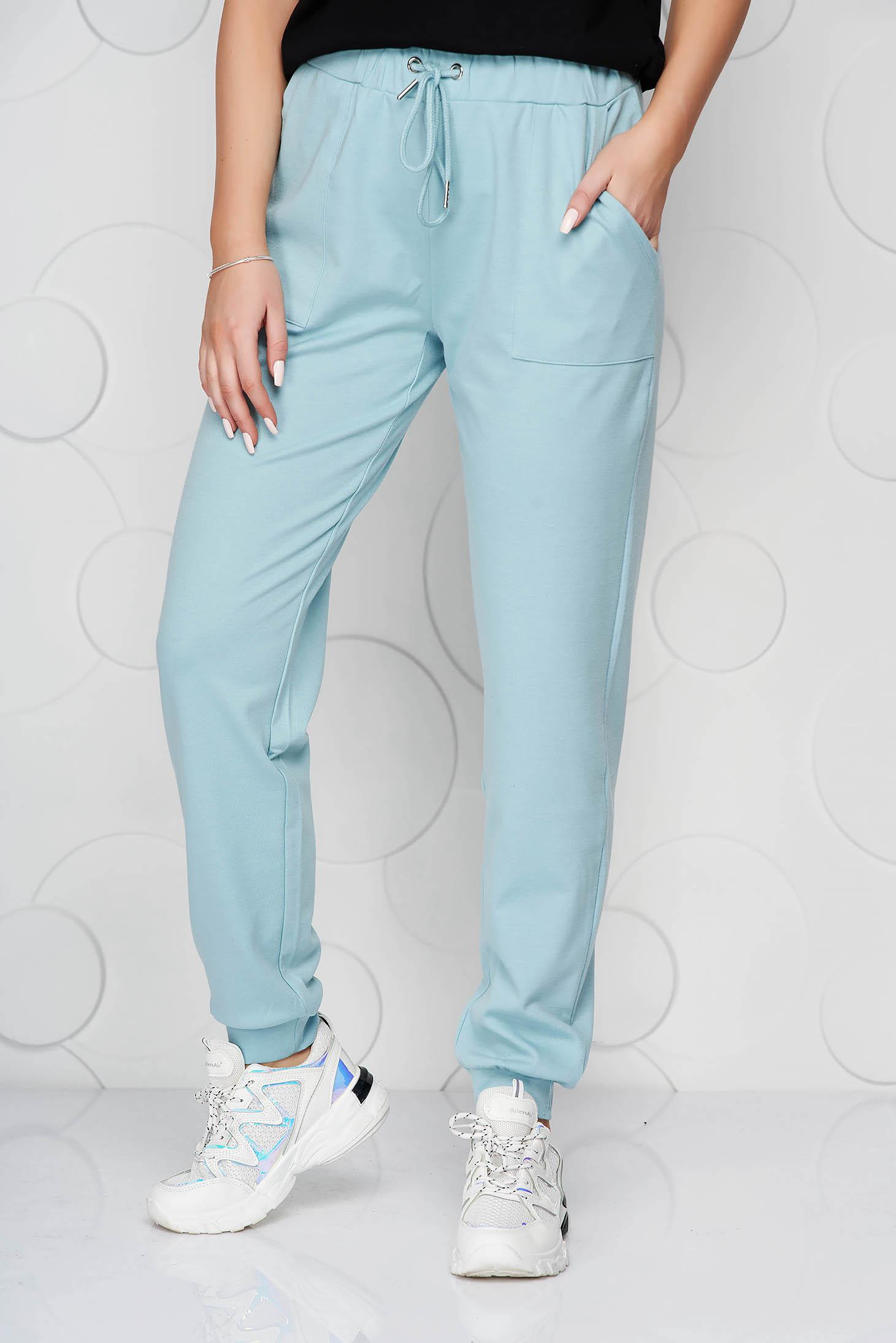 Pantaloni Top Secret turcoaz din material elastic cu talie normala cu snur