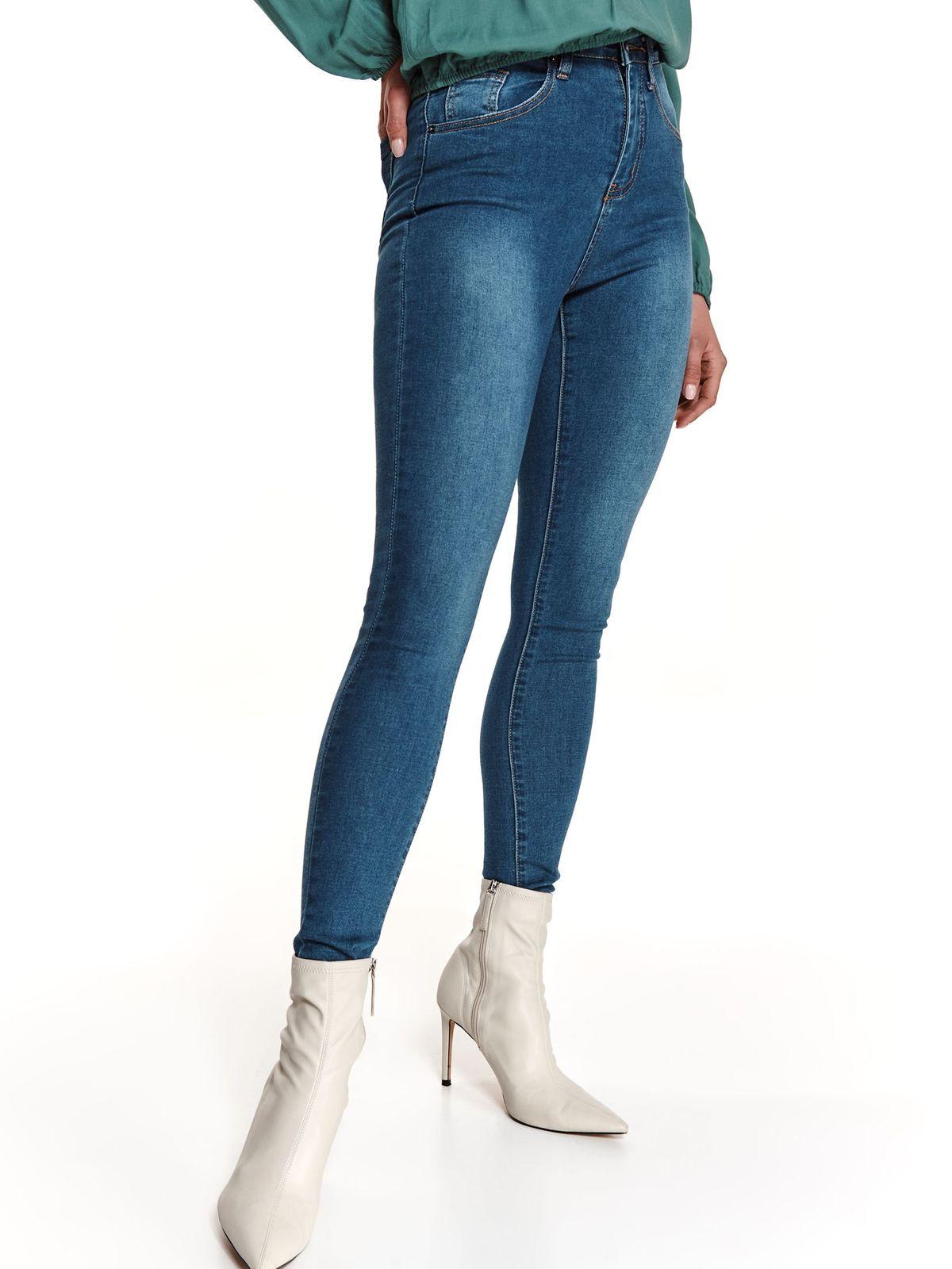 Pantaloni Top Secret albastri din denim conici cu talie inalta