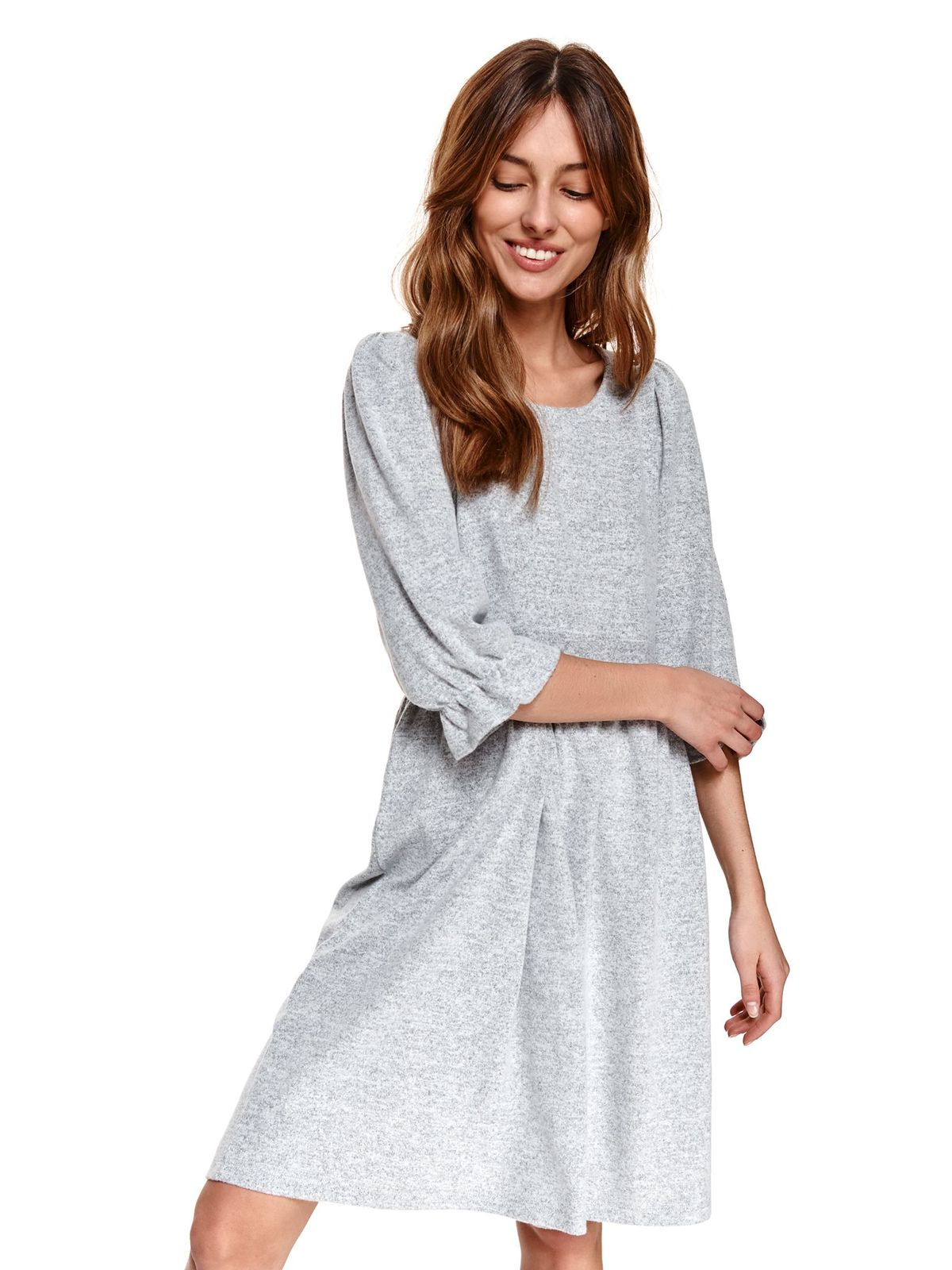 Grey dress loose fit with ruffle details from elastic and fine fabric