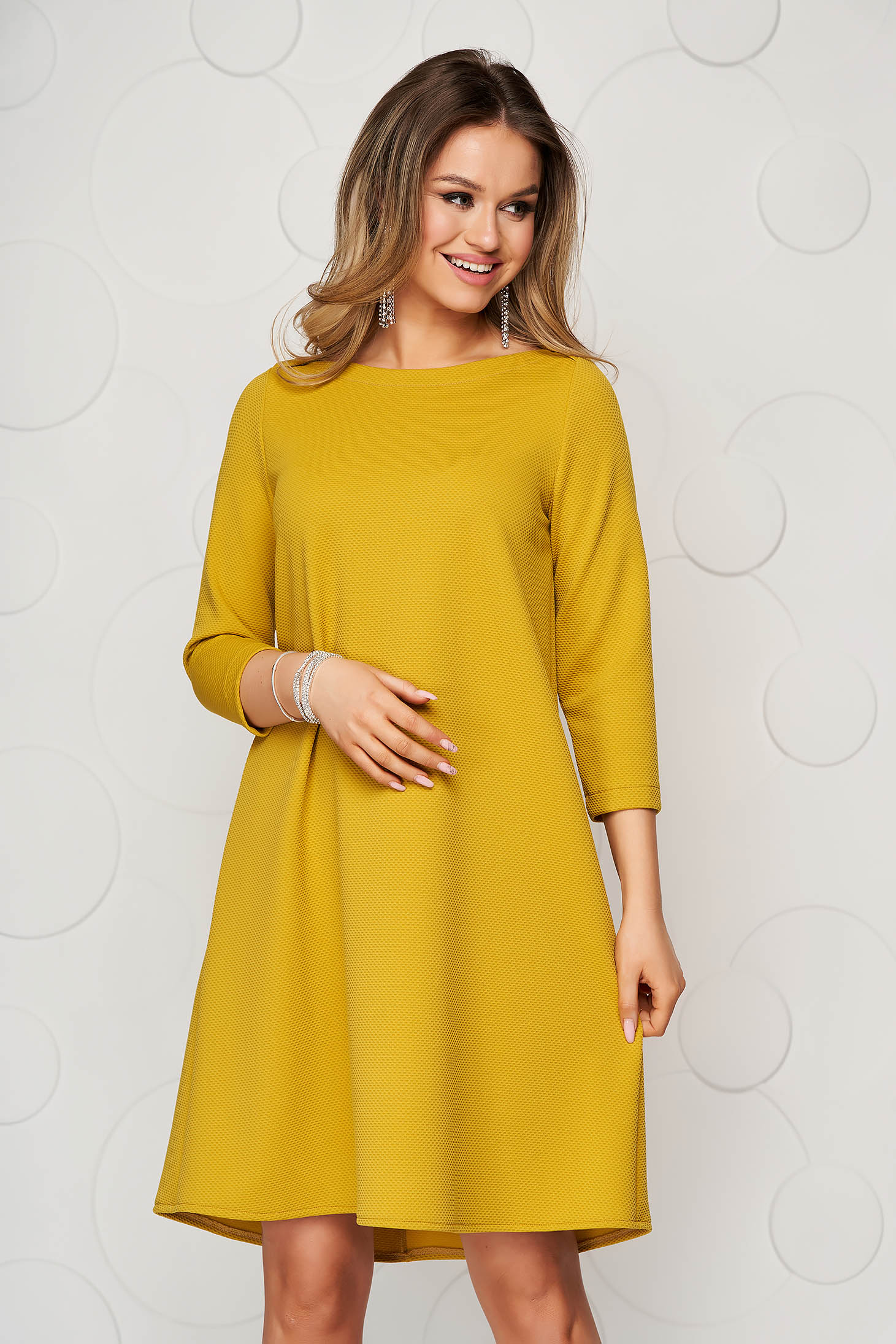 StarShinerS yellow dress short cut daily loose fit from elastic fabric