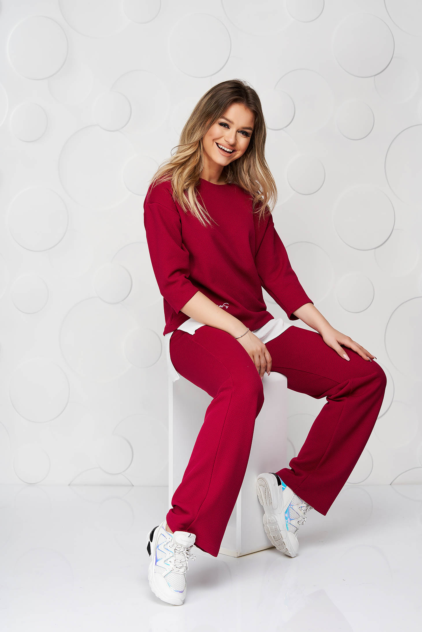 Raspberry StarShinerS lady set of embossed material with easy cut voile details with embroidery details