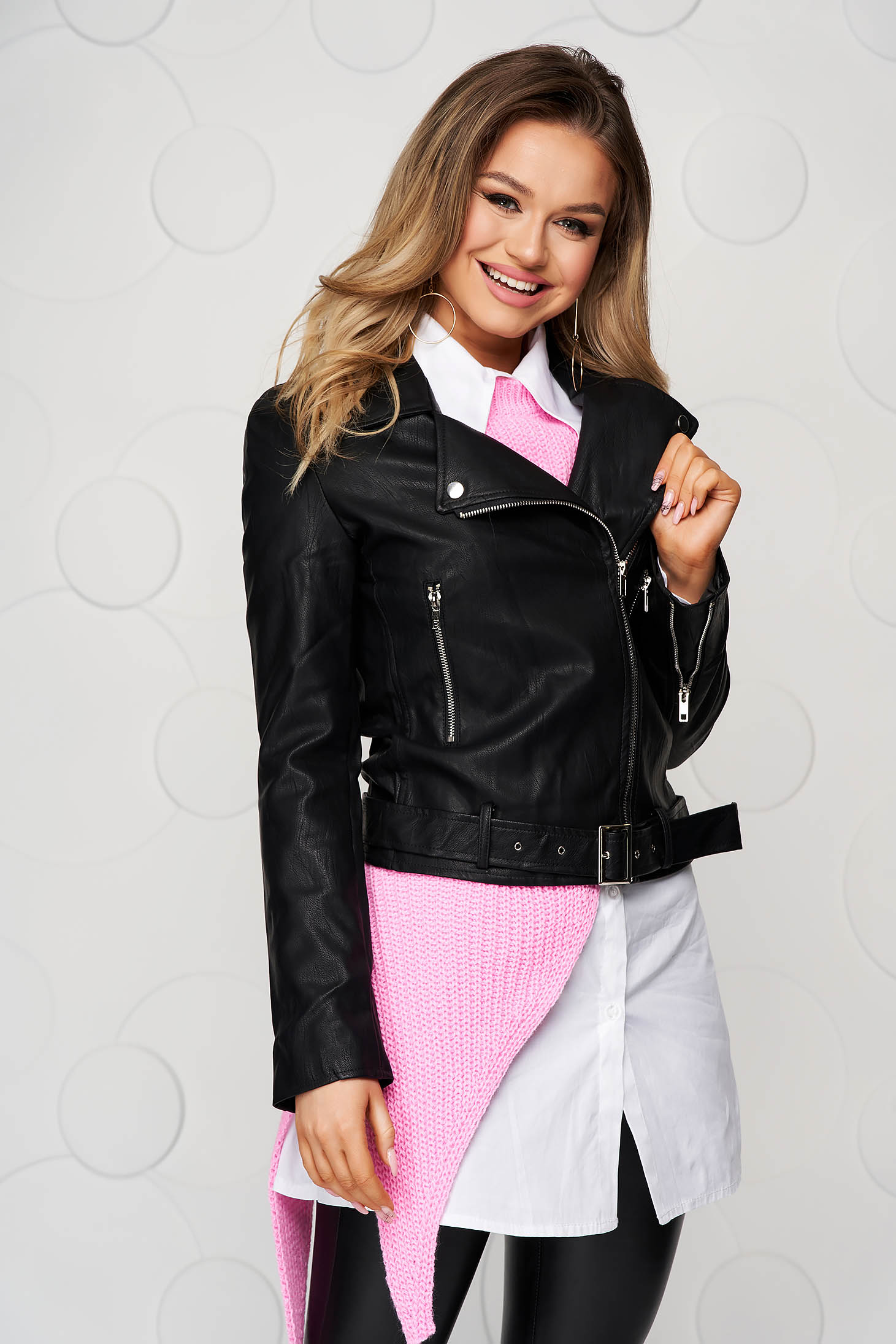Black from ecological leather casual tented jacket accessorized with belt